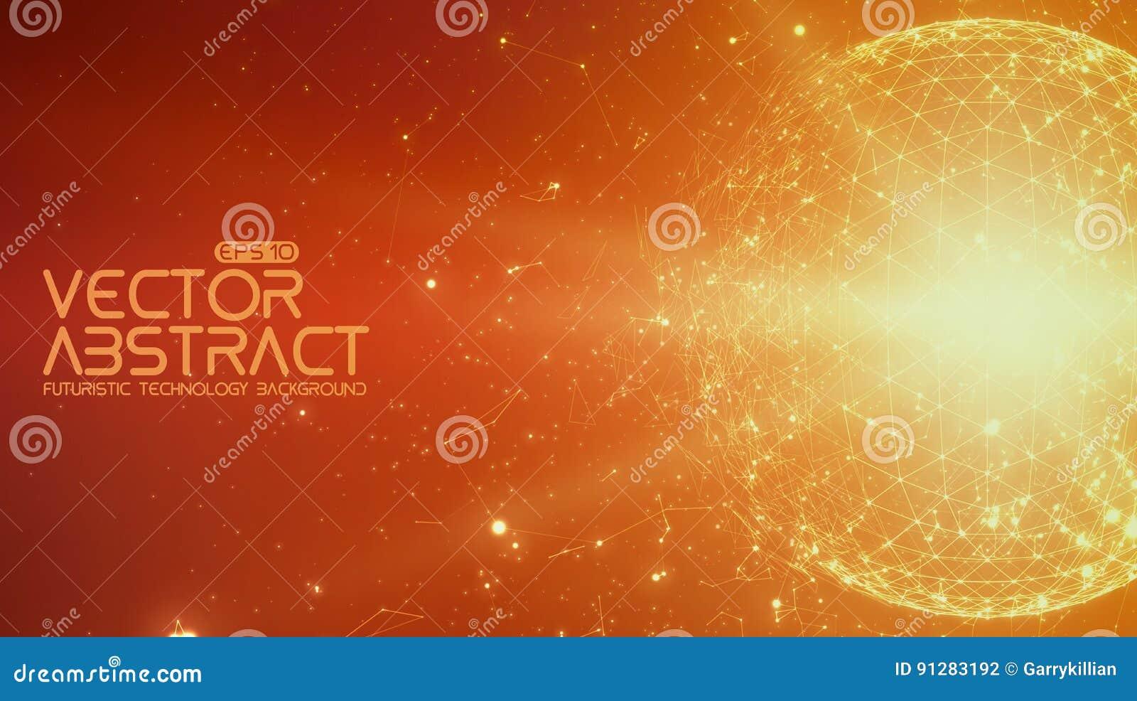 Abstrakt bakgrund för apelsin för vektorutrymme Kaotiskt förbindelsepunkter och polygoner som flyger i utrymme Flygskräp