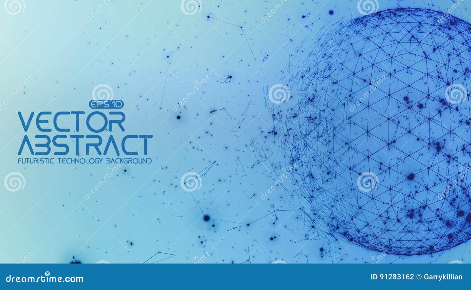 Abstrakt bakgrund för blått för vektorutrymme Kaotiskt förbindelsepunkter och polygoner som flyger i utrymme Flygskräp