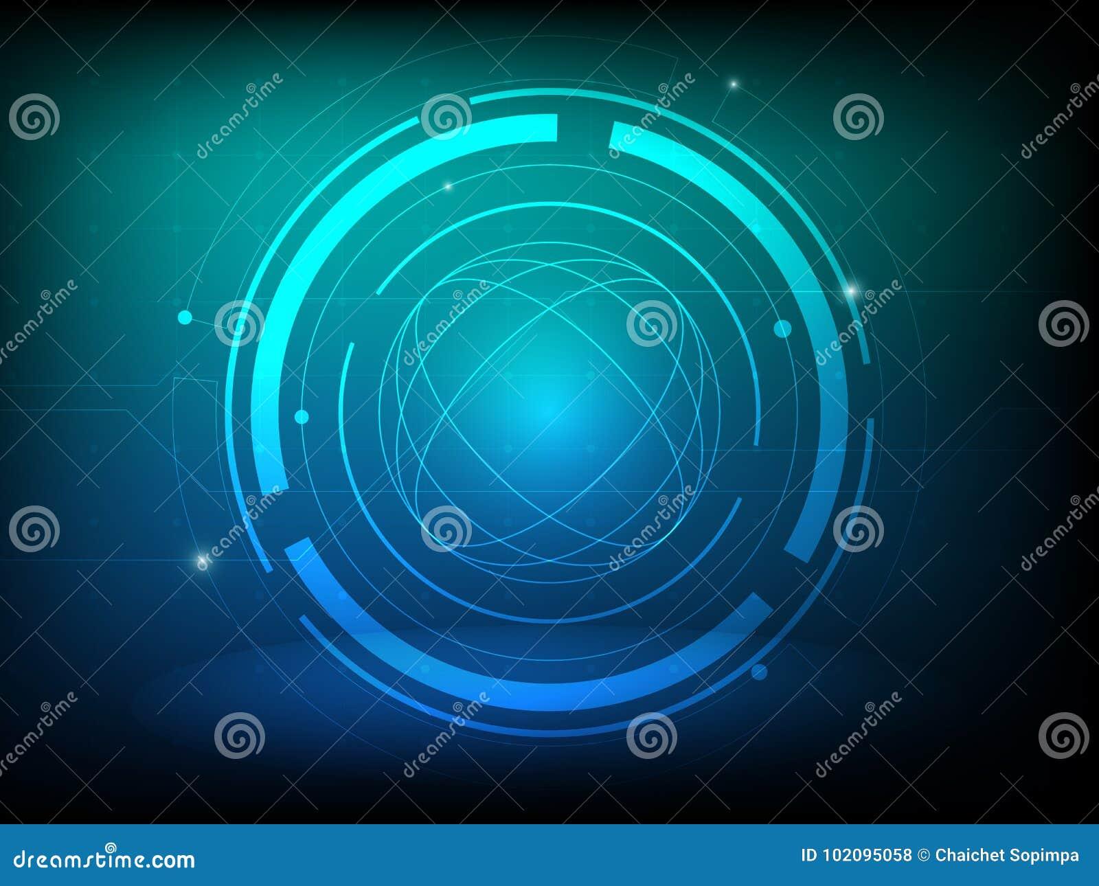 Abstrakt bakgrund för digital teknologi för cirkel för blå gräsplan, futuristisk bakgrund för strukturbeståndsdelbegrepp