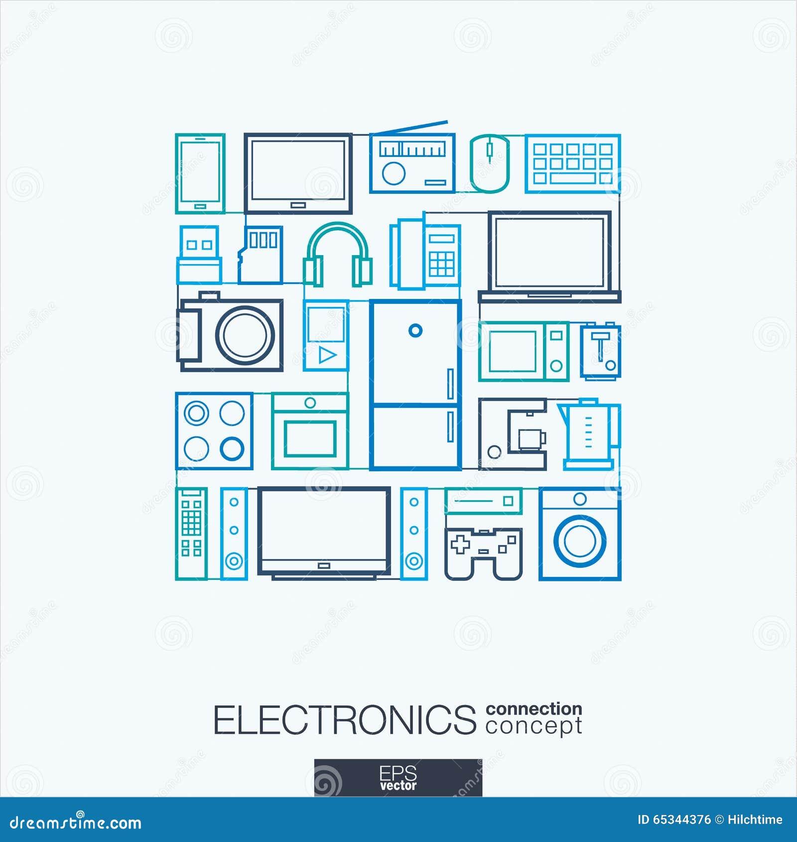 Abstrakt bakgrund för elektronik, inbyggd tunn linje symboler