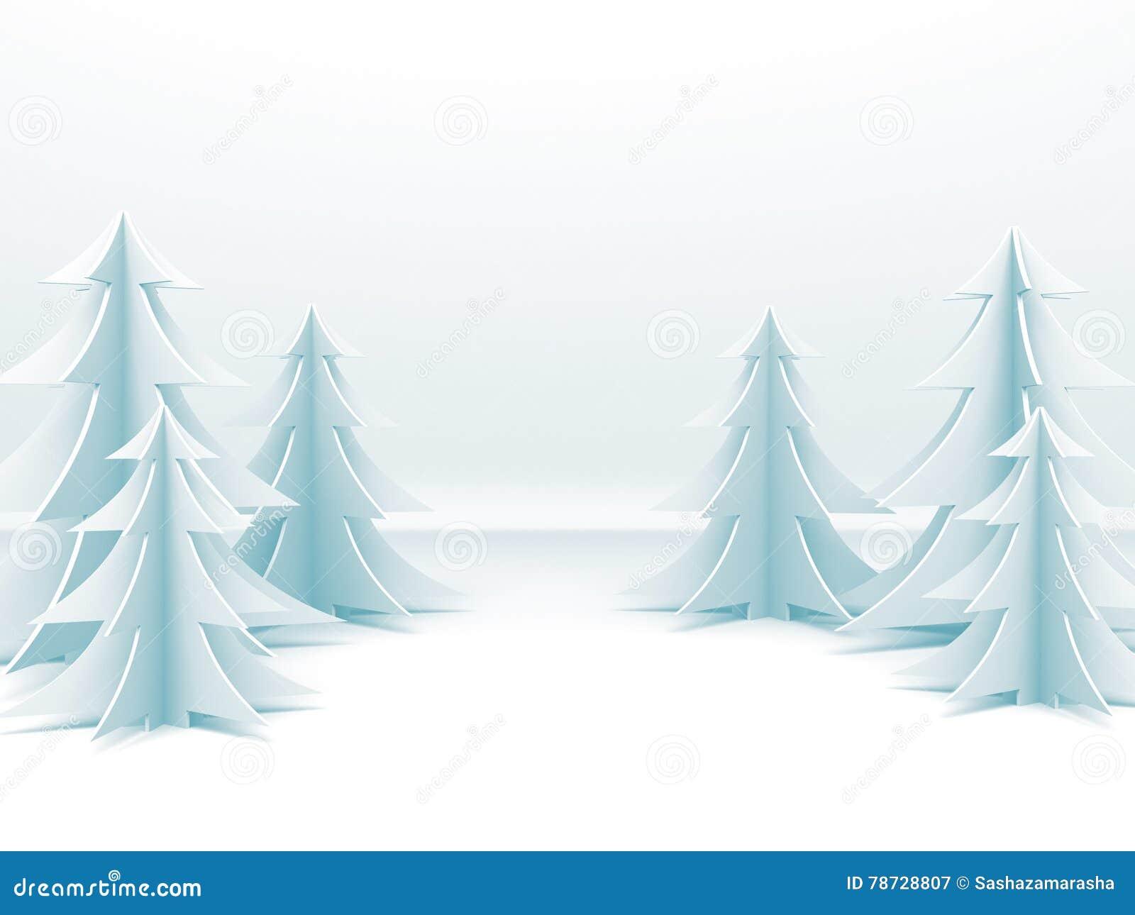 Abstrakt bakgrund för glad jul med pappers- träd för nytt år