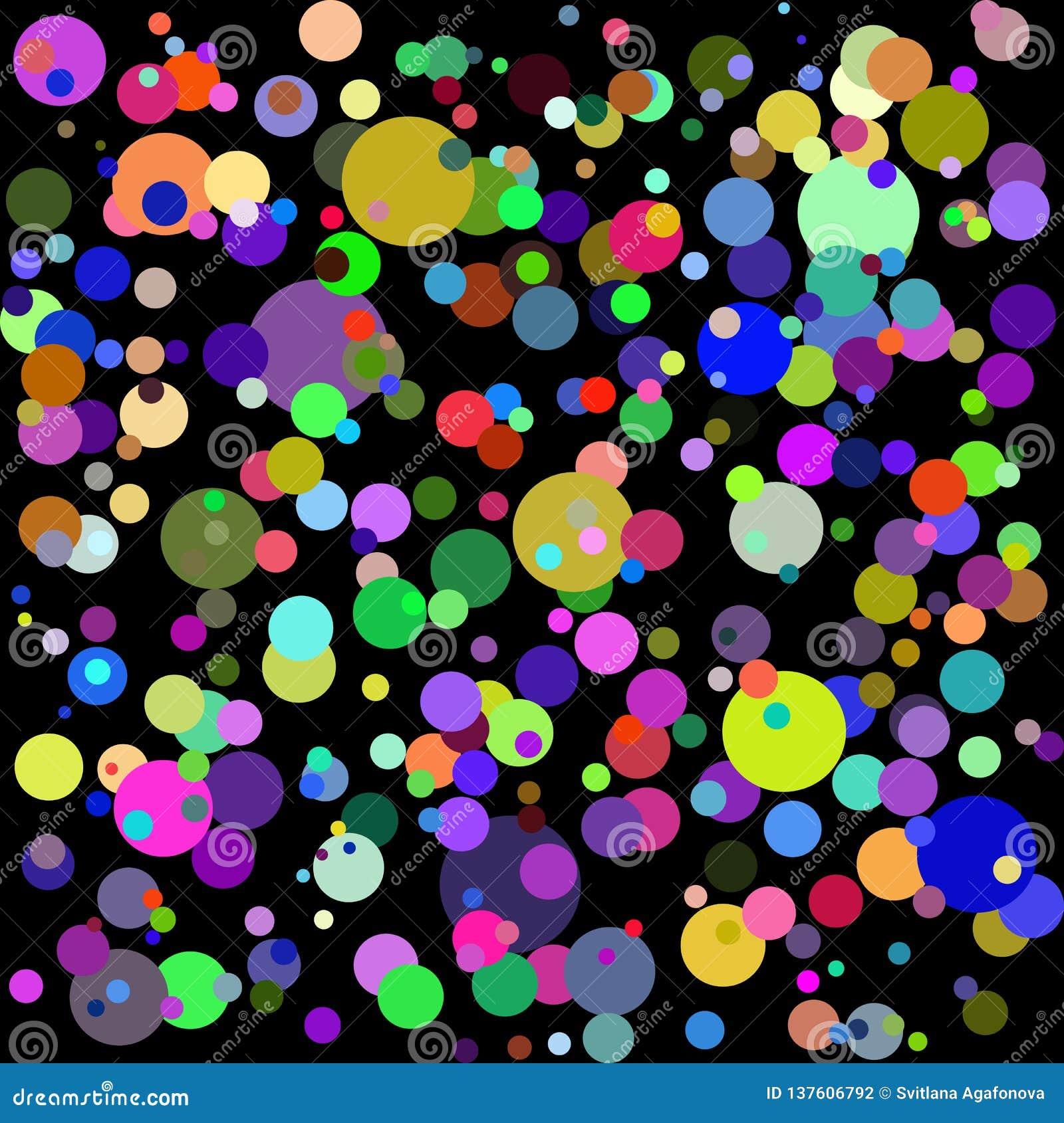 Abstrakt bakgrund för kall grafisk flerfärgad vektor; färgrika cirklar på svart bakgrund; kan användas för tapeter, baner,