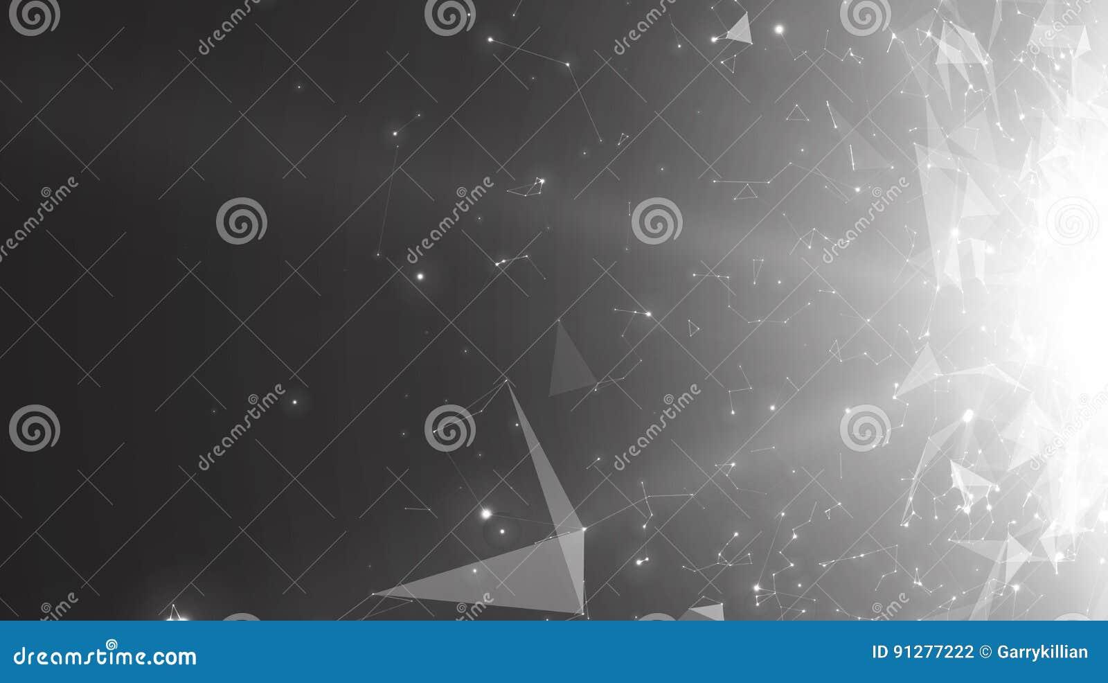 Abstrakt bakgrund för monokrom för vektorutrymme Kaotiskt förbindelsepunkter och polygoner som flyger i utrymme Flygskräp