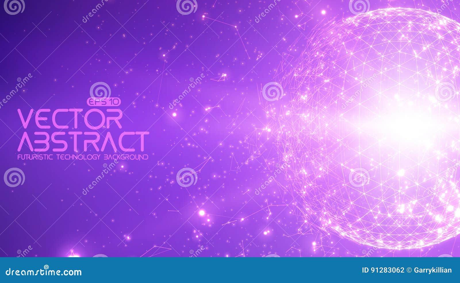 Abstrakt bakgrund för violet för vektorutrymme Kaotiskt förbindelsepunkter och polygoner som flyger i utrymme Flygskräp