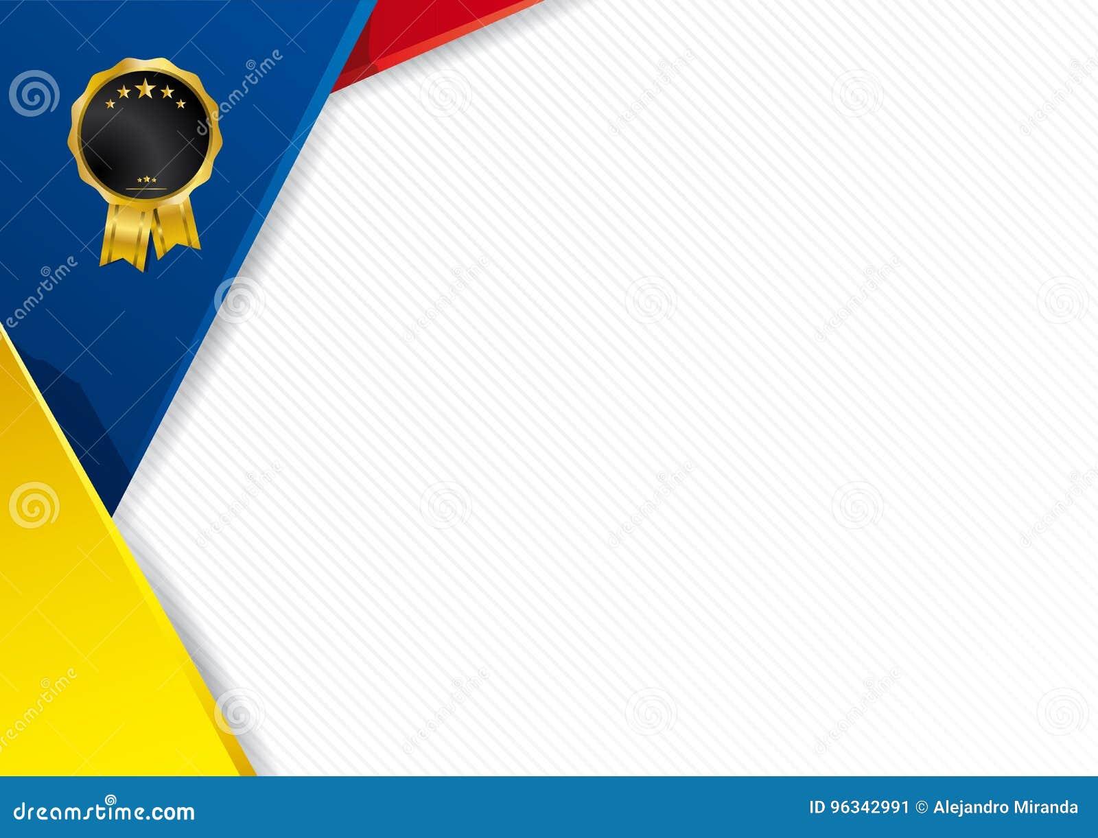 Abstrakt bakgrund med former med färgerna av flaggan av Ecuador
