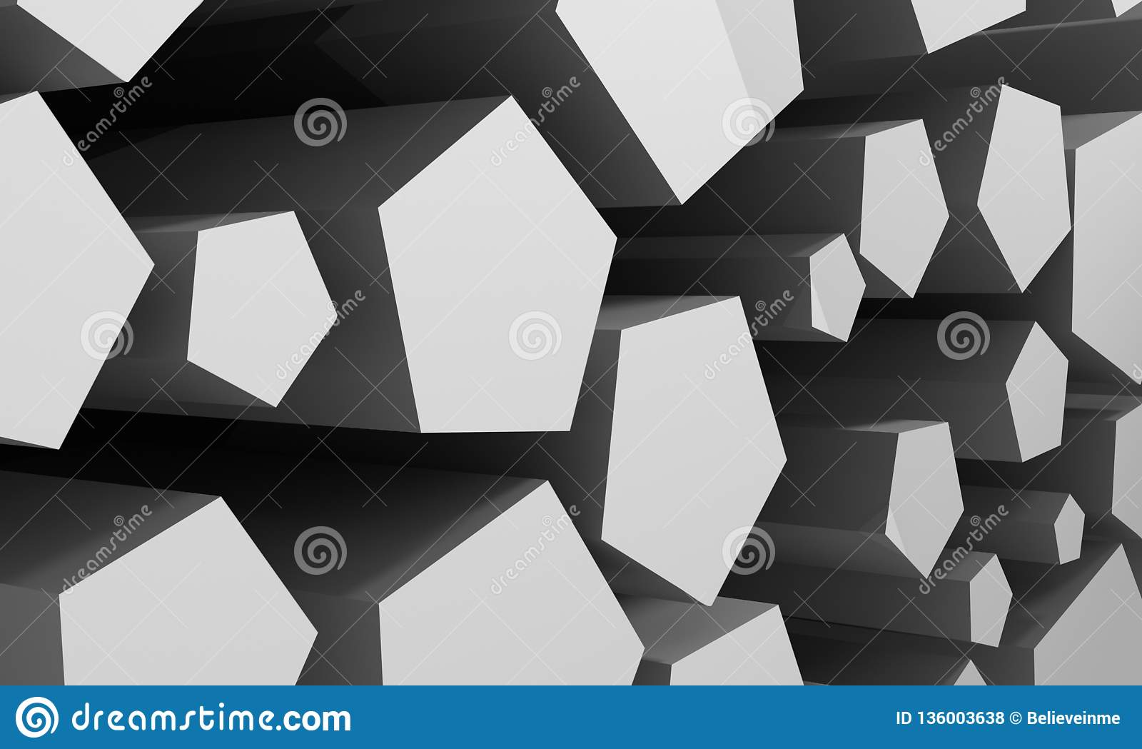 Abstrakt bakgrund som består av kubikhål av grå färg framförande 3d