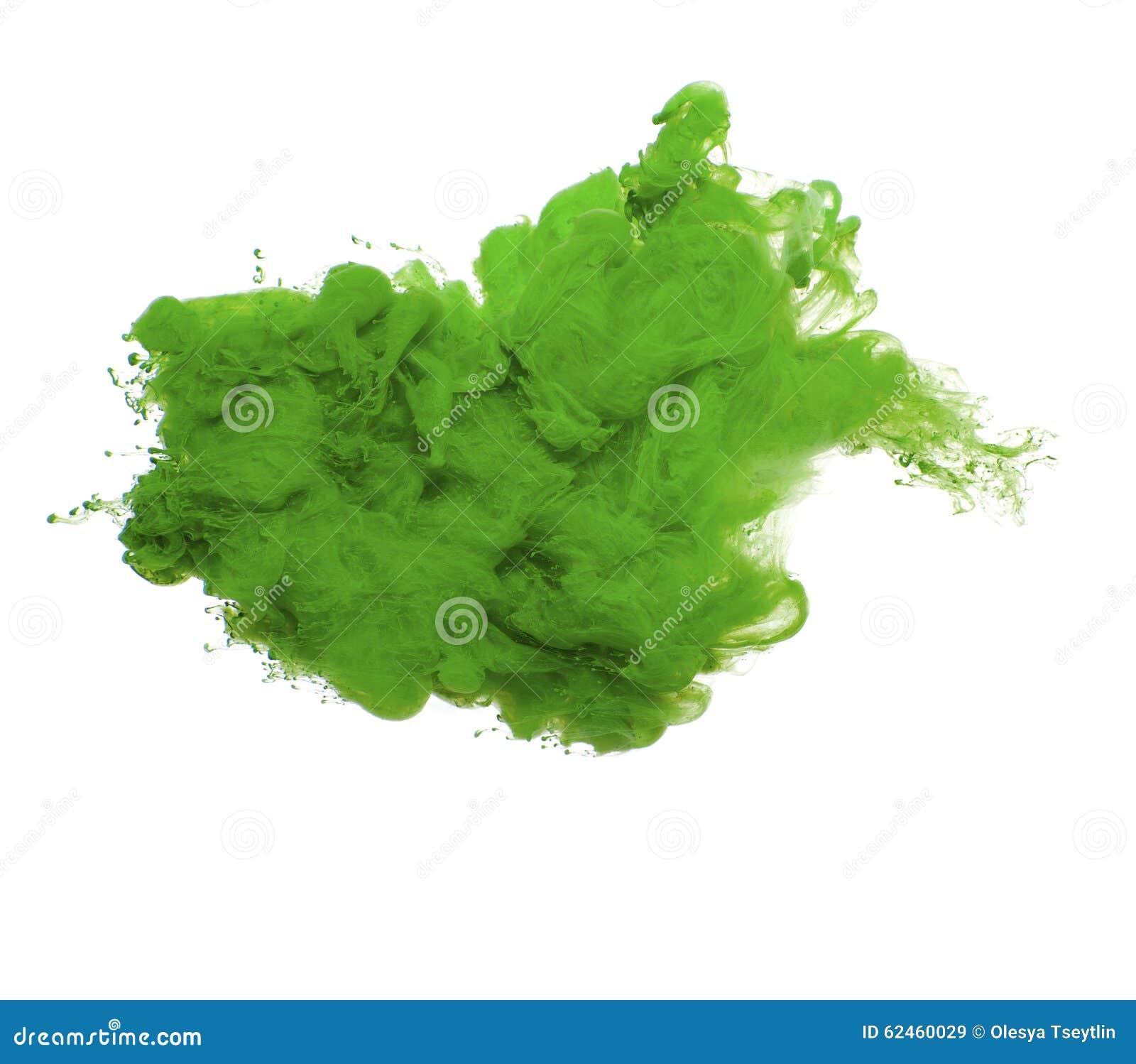 Abstrakt begrepp av grön akrylmålarfärg i vatten