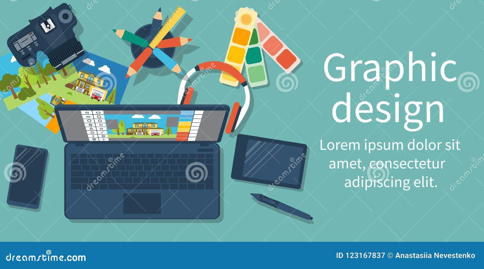 Abstrakt begrepp av utveckling av den grafiska designen