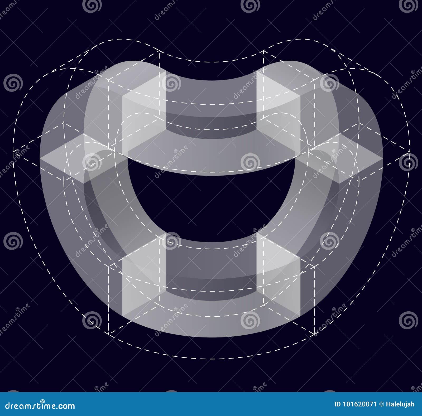 Abstrakt begrepp buktad vektorform på svart Isometriskt märke av den vetenskapliga institutionen, forskningscentrum, biologiska l