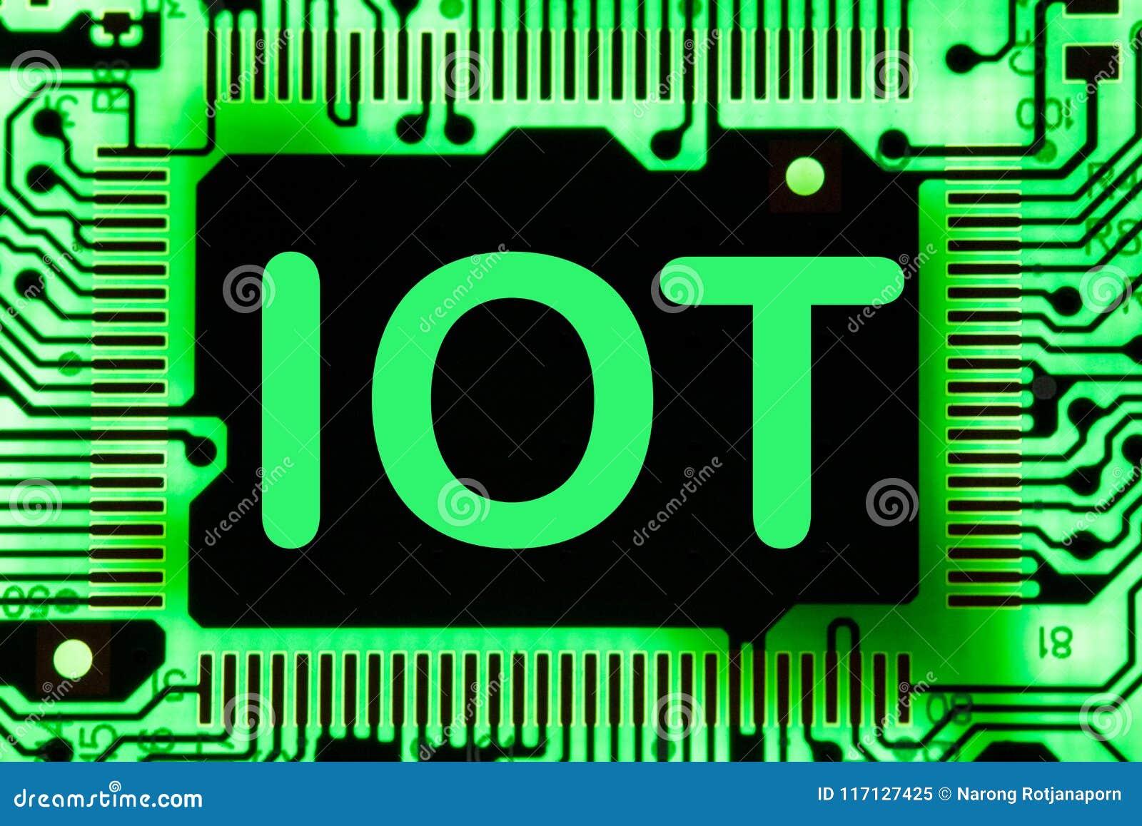 Abstrakt begrepp slut upp av bakgrund Mainboard för elektronisk dator IOT internet av saker