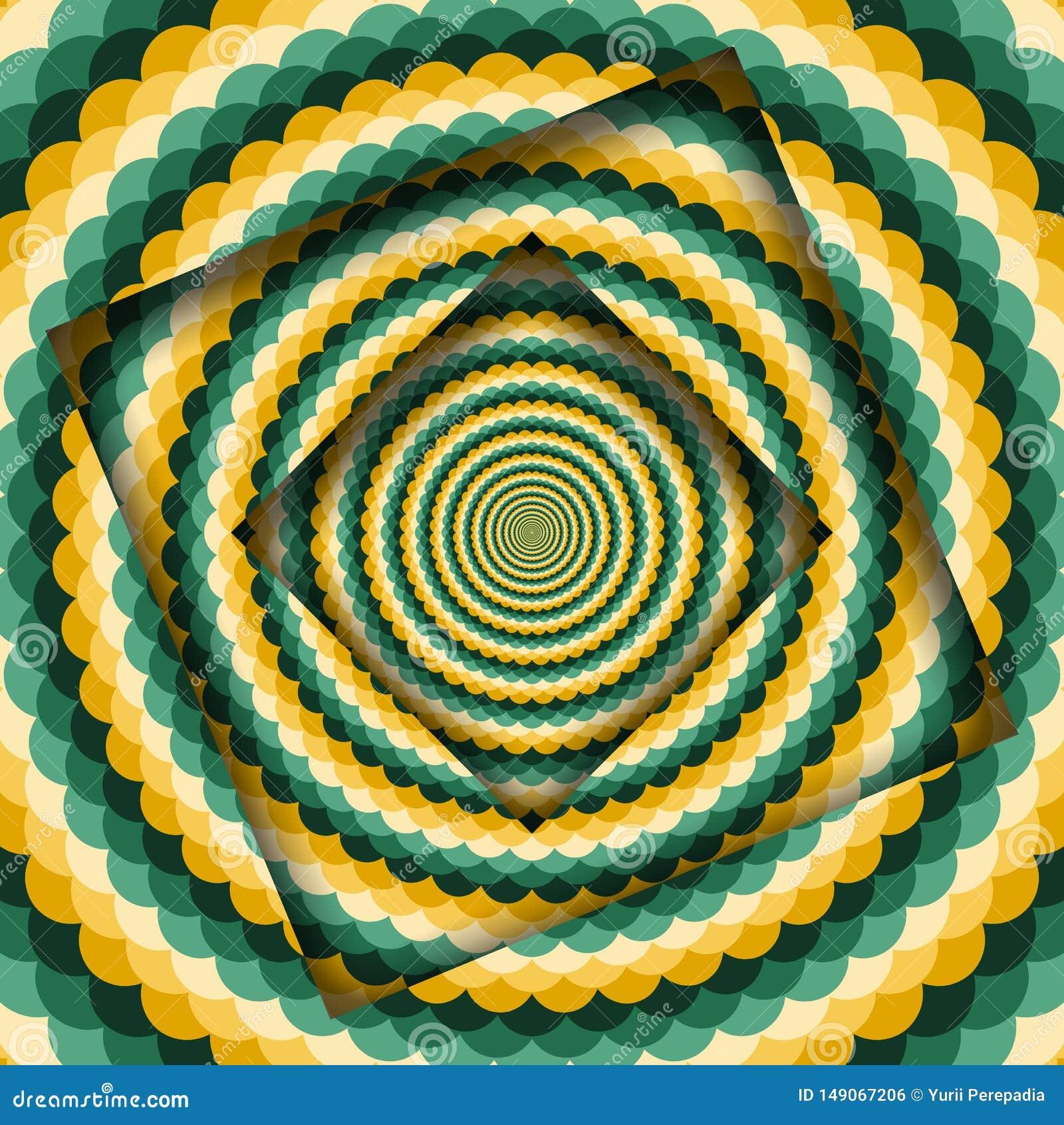 Abstrakt begrepp v?nde ramar med en roterande gr?n gul krabb modell Hypnotisk bakgrund för optisk illusion