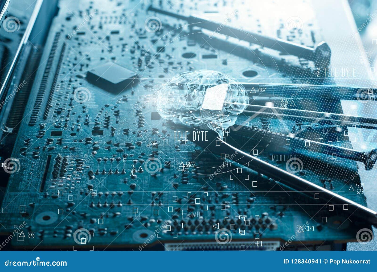 Abstrakt begrepp Vetenskap och innovativt Hjärna och elektronisk strömkrets