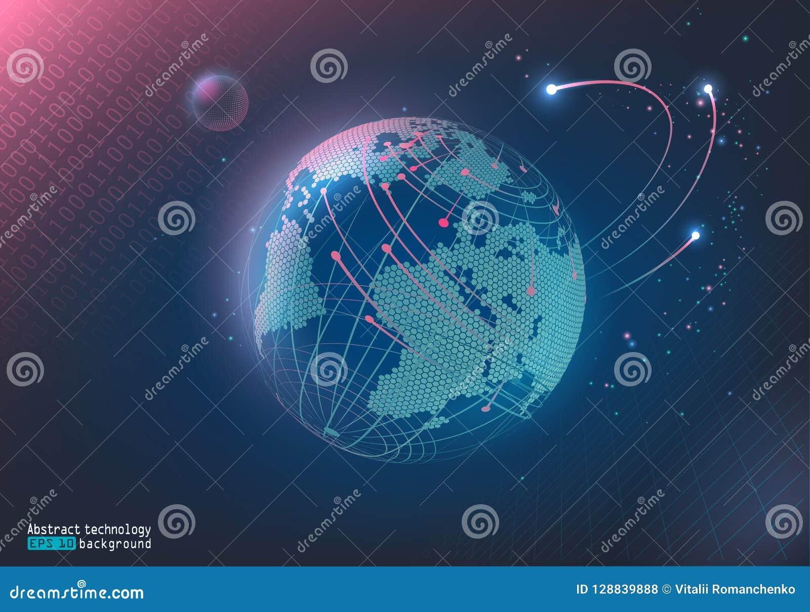 Abstrakt bild av punkter och linjer Digital utrymme Planetjord och månen Kommunikation internet background card congratulation in