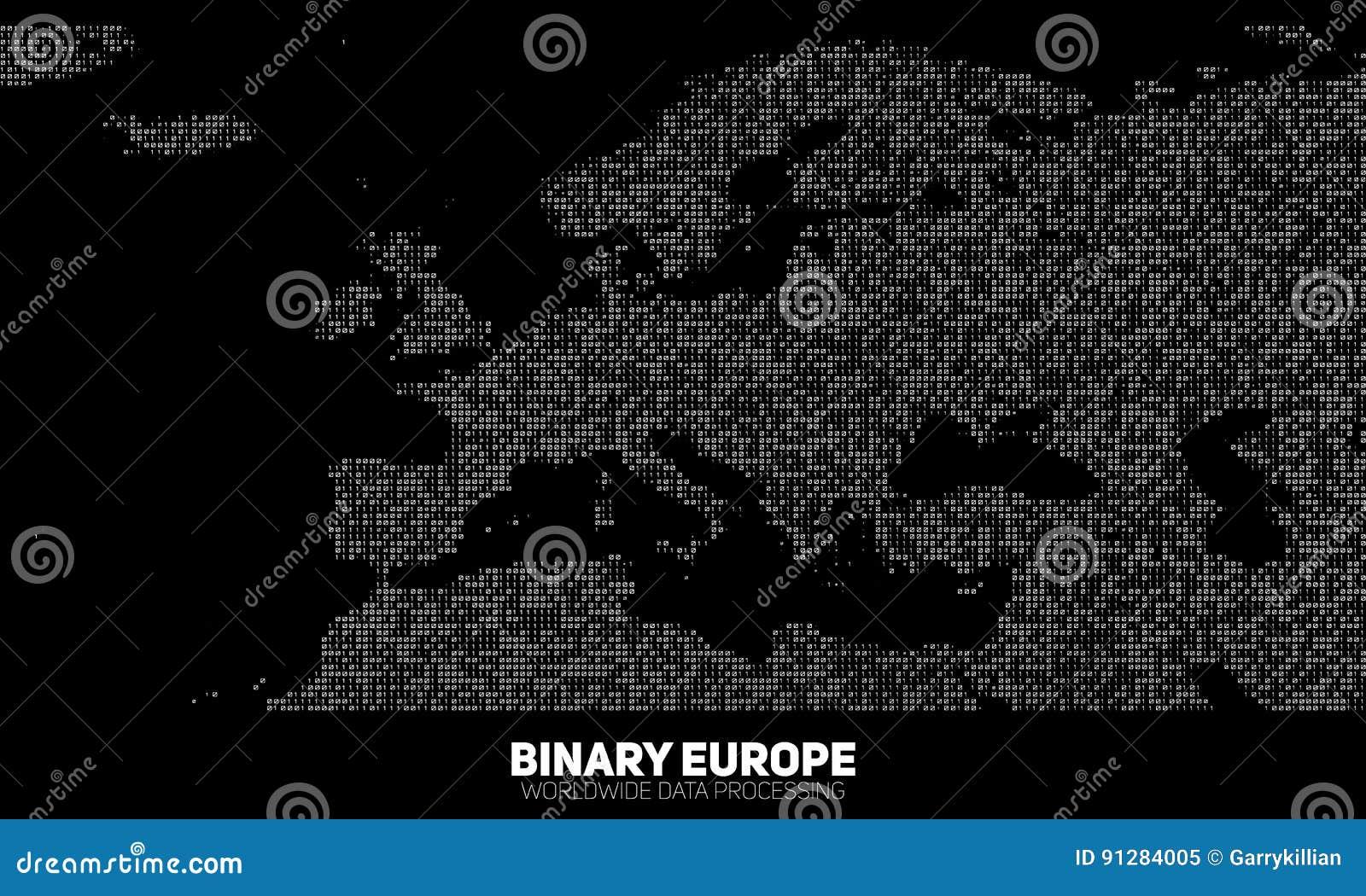 Abstrakt binär Europa för vektor översikt Kontinenter som konstrueras från binära nummer Globalt informationsnätverk