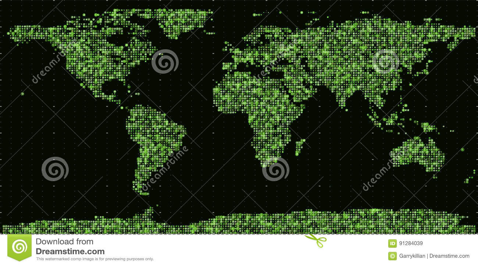 Abstrakt binär världskarta för vektor Kontinenter som konstrueras från gröna binära nummer Globalt informationsnätverk