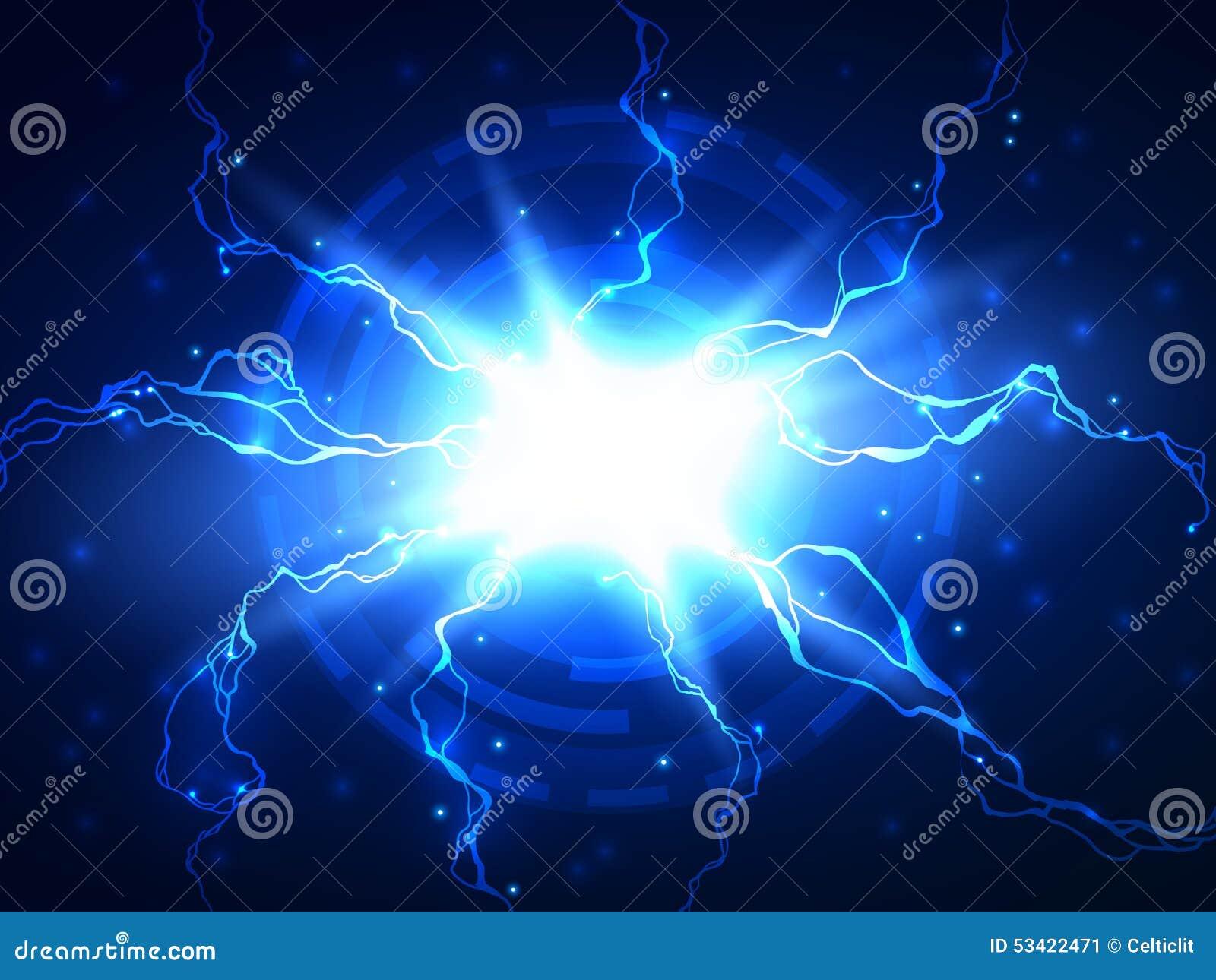 Abstrakt blå bakgrund för blixtvektorvetenskap