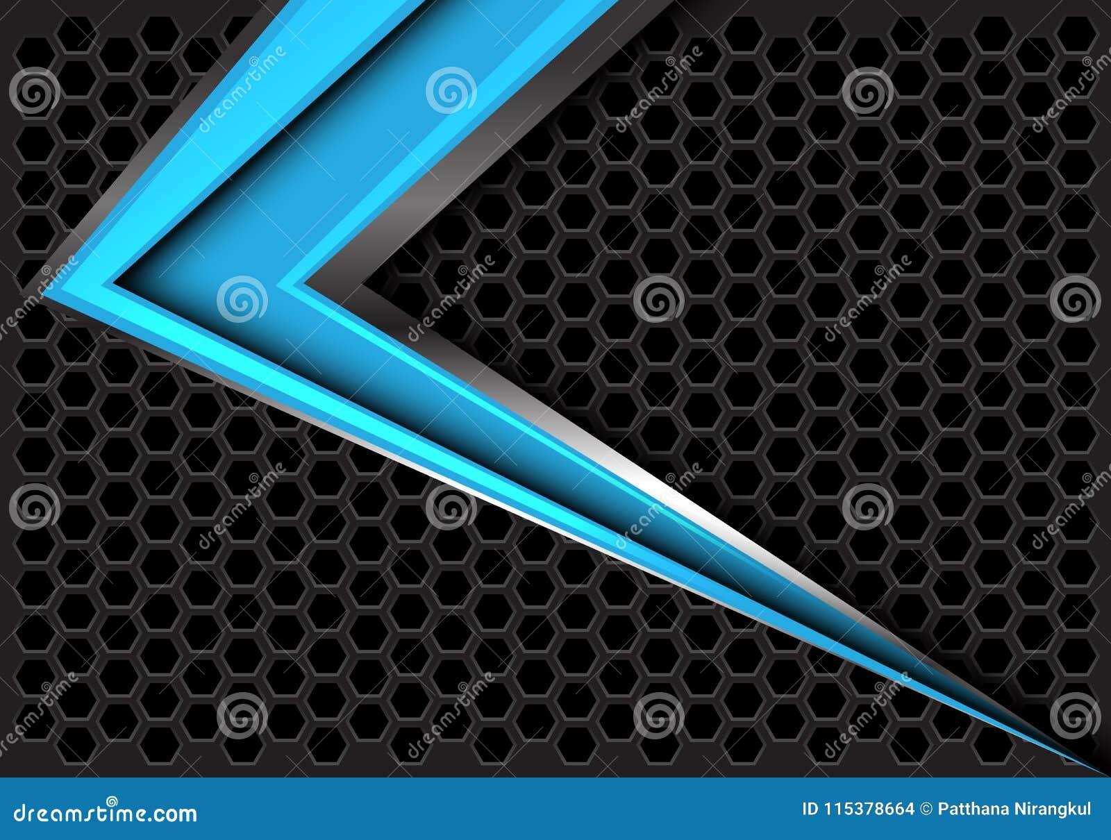 Abstrakt blå pilhastighet på mörker - vektor för bakgrund för grå sexhörningsingreppsdesign modern futuristisk