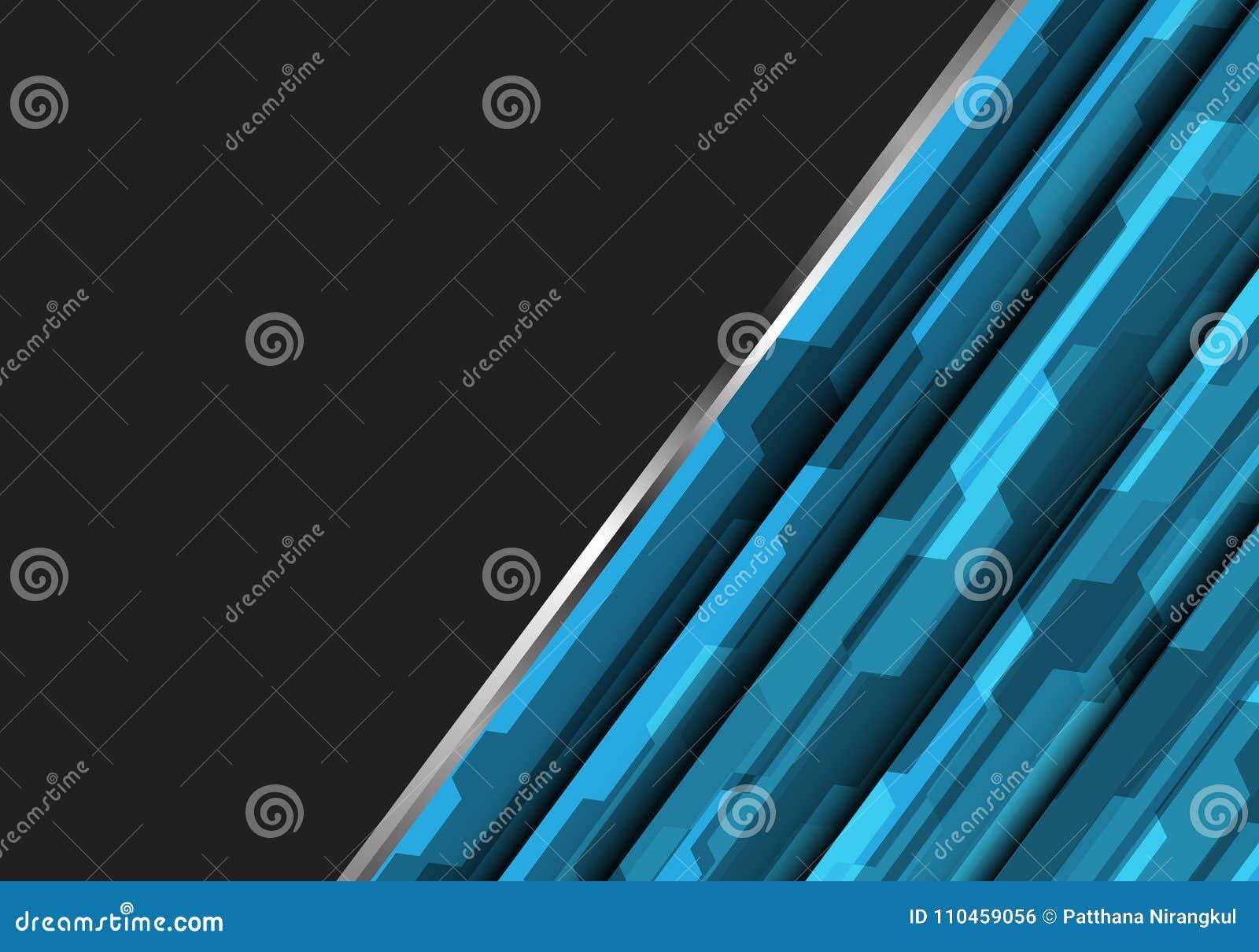 Abstrakt blå polygon som är futuristisk på mörker - grå vektor för bakgrund för teknologi för design för tomt utrymme modern
