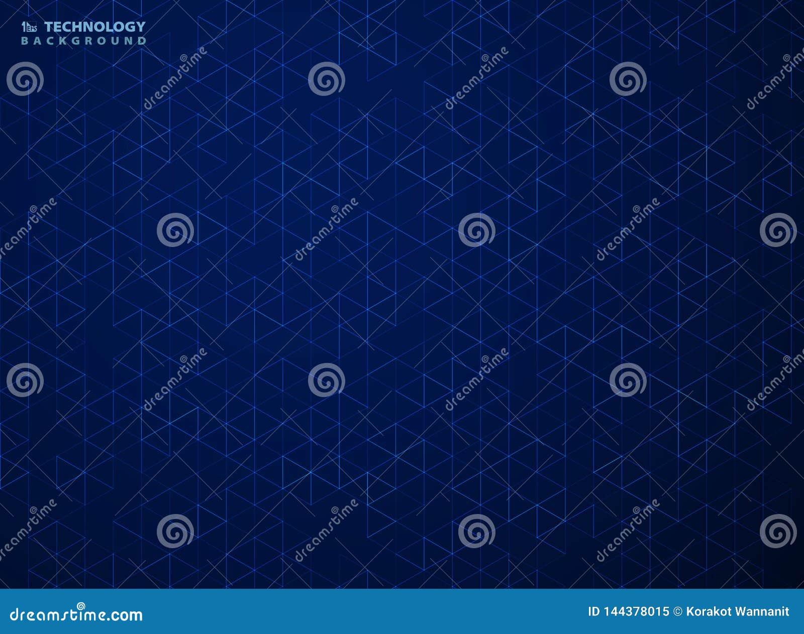 Abstrakt blå sexhörningsmodell av geometrisk bakgrund för teknologi Illustrationvektor eps10