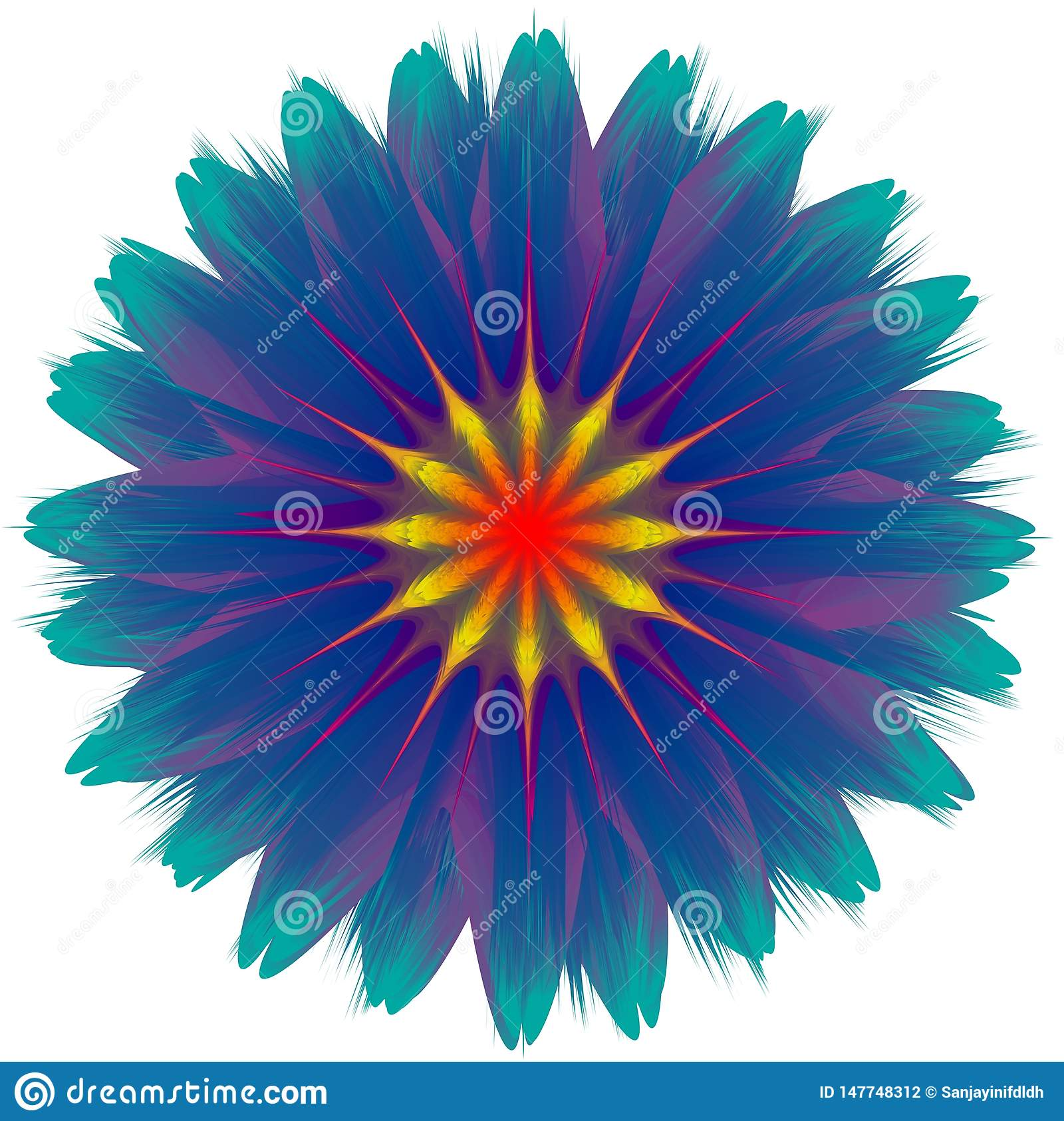 Abstrakt blomma för vektor som blandar, lutningeffekt, färgrik illustration