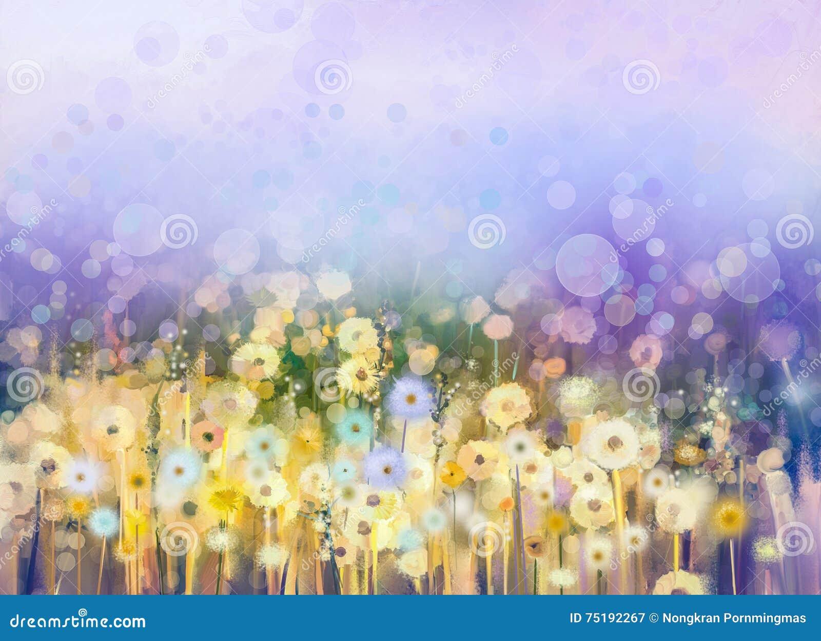 Abstrakt blommaväxt för olje- målning Maskrosblomma i fält