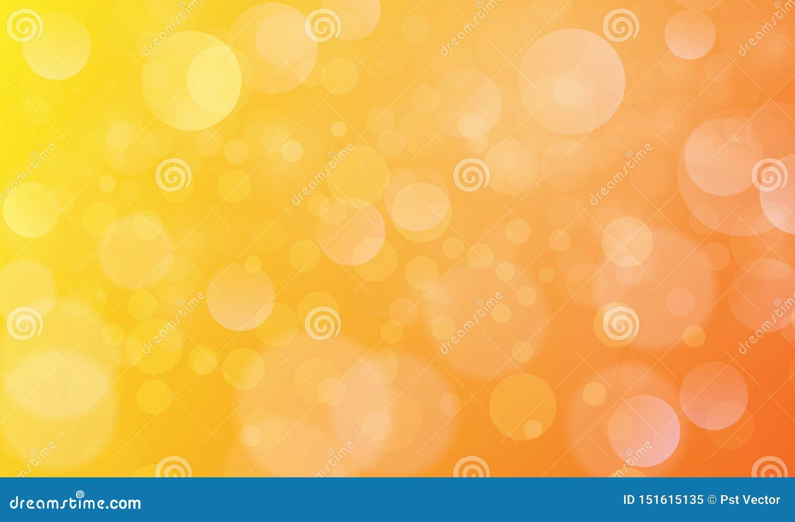 Abstrakt bokehljuseffekt med gul orange bakgrund, bokehtextur, bokehbakgrund, vektorillustration