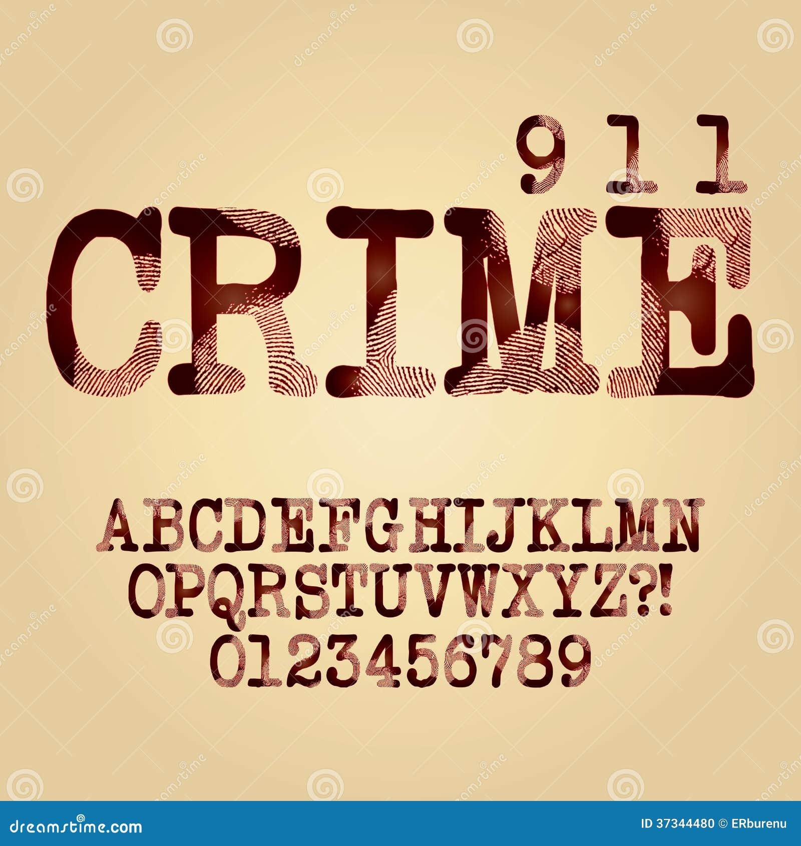 Abstrakt brottsligt alfabet och siffravektor