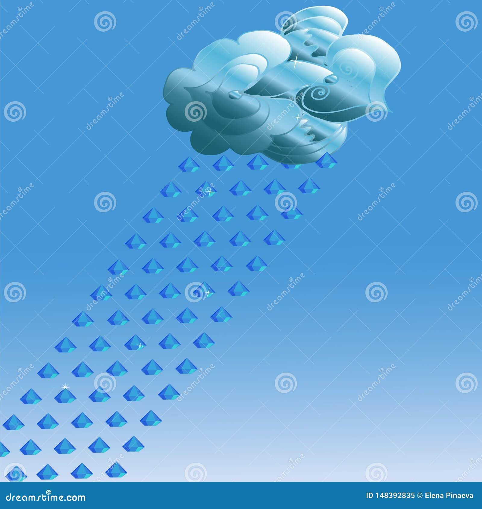 Abstrakt chmura na błękitnym tle i deszcz cenni kamienie