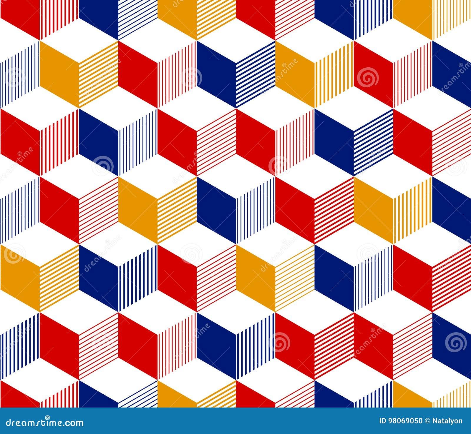 Abstrakt 3d paskował sześcianu geometrycznego bezszwowego wzór w czerwonym błękitnym kolorze żółtym i bielu, wektor