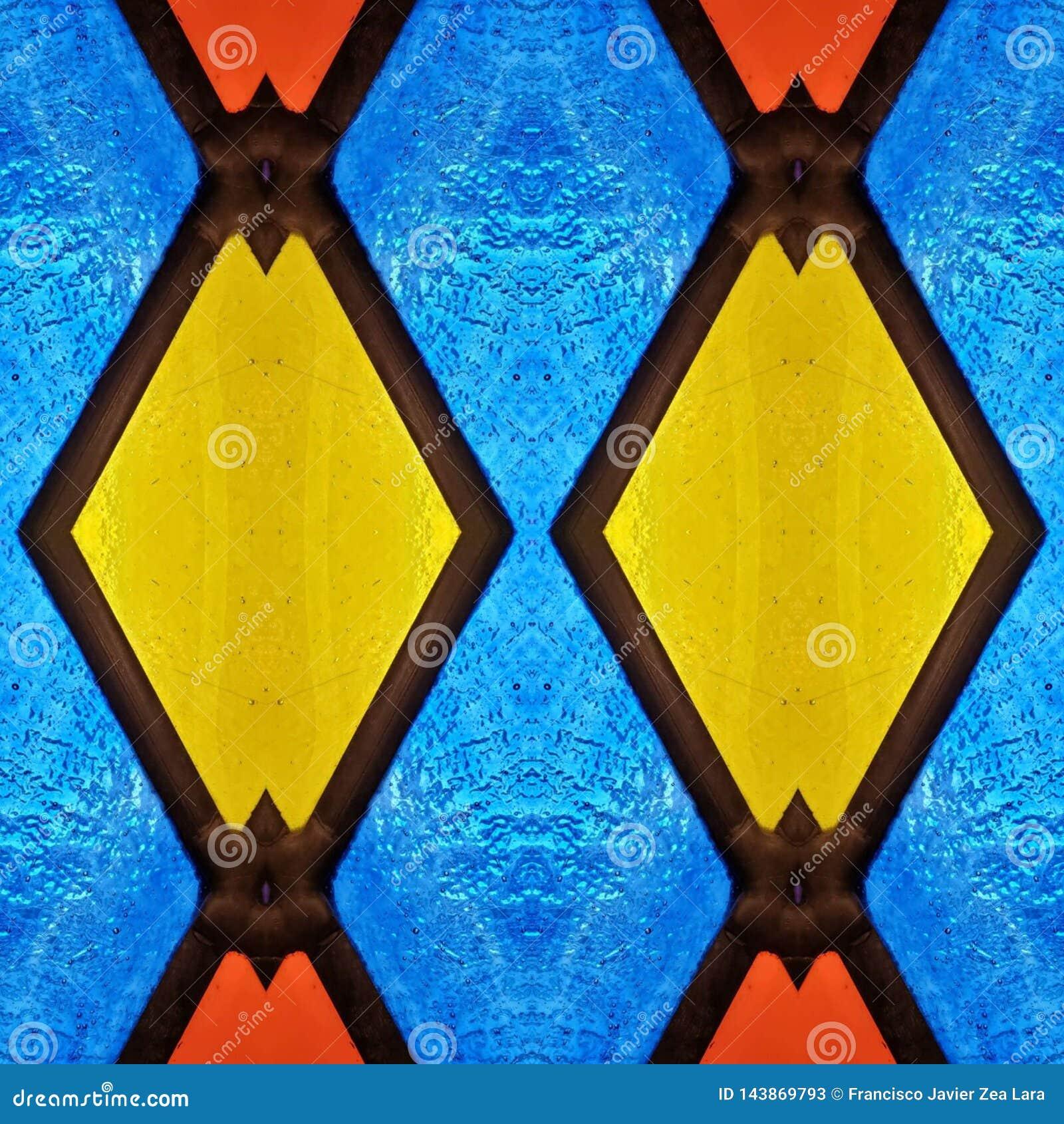 Abstrakt design med målat glass i röda, blåa och gula färger, material för garnering av fönster, bakgrund och textur