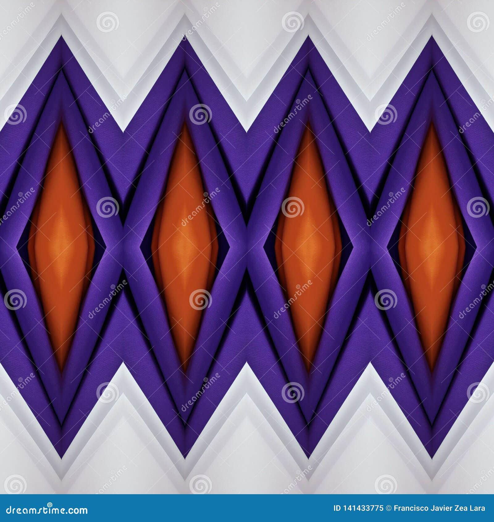 Abstrakt design med snitt av tyg i apelsin, vitt och purpurfärgat, bakgrund och textur