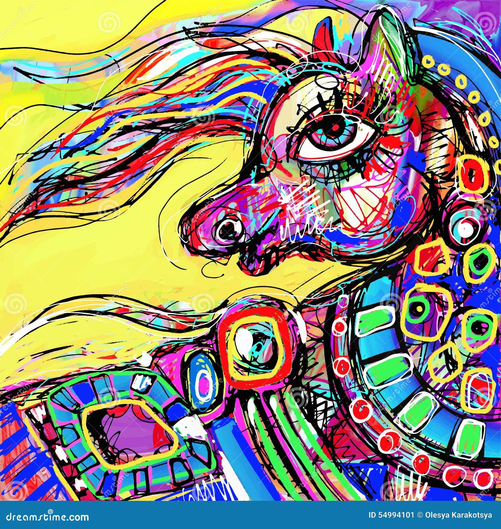 Abstrakt digital teckning för original av det kulöra huvudet