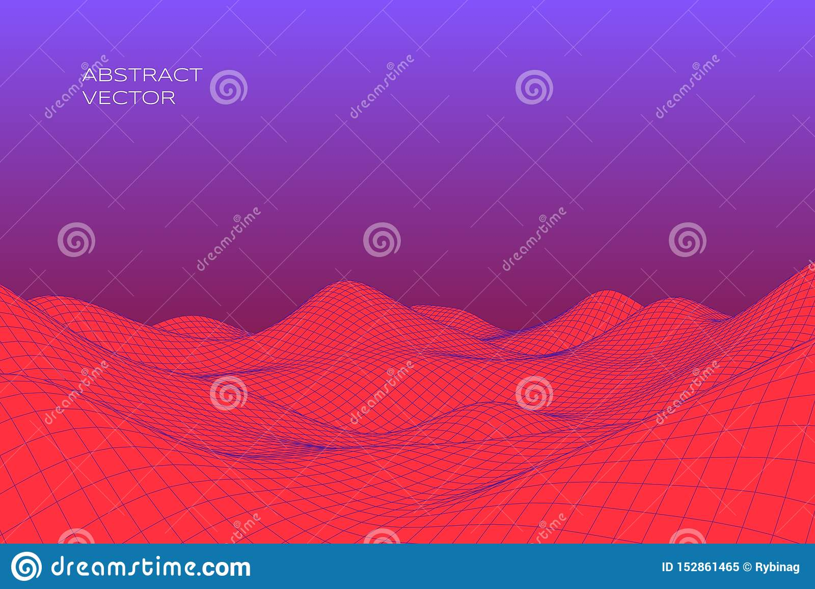 Abstrakt digitalt landskap med lutning Cyber- eller teknologibakgrund ocks? vektor f?r coreldrawillustration