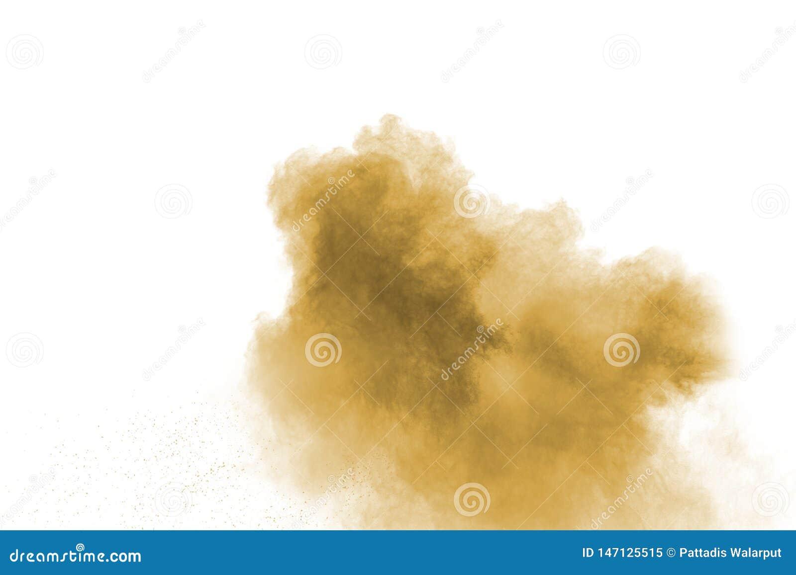 Abstrakt djupt - brun dammexplosion p? vit bakgrund Frysningr?relse av kaffe gillad f?rgdammf?rgst?nk