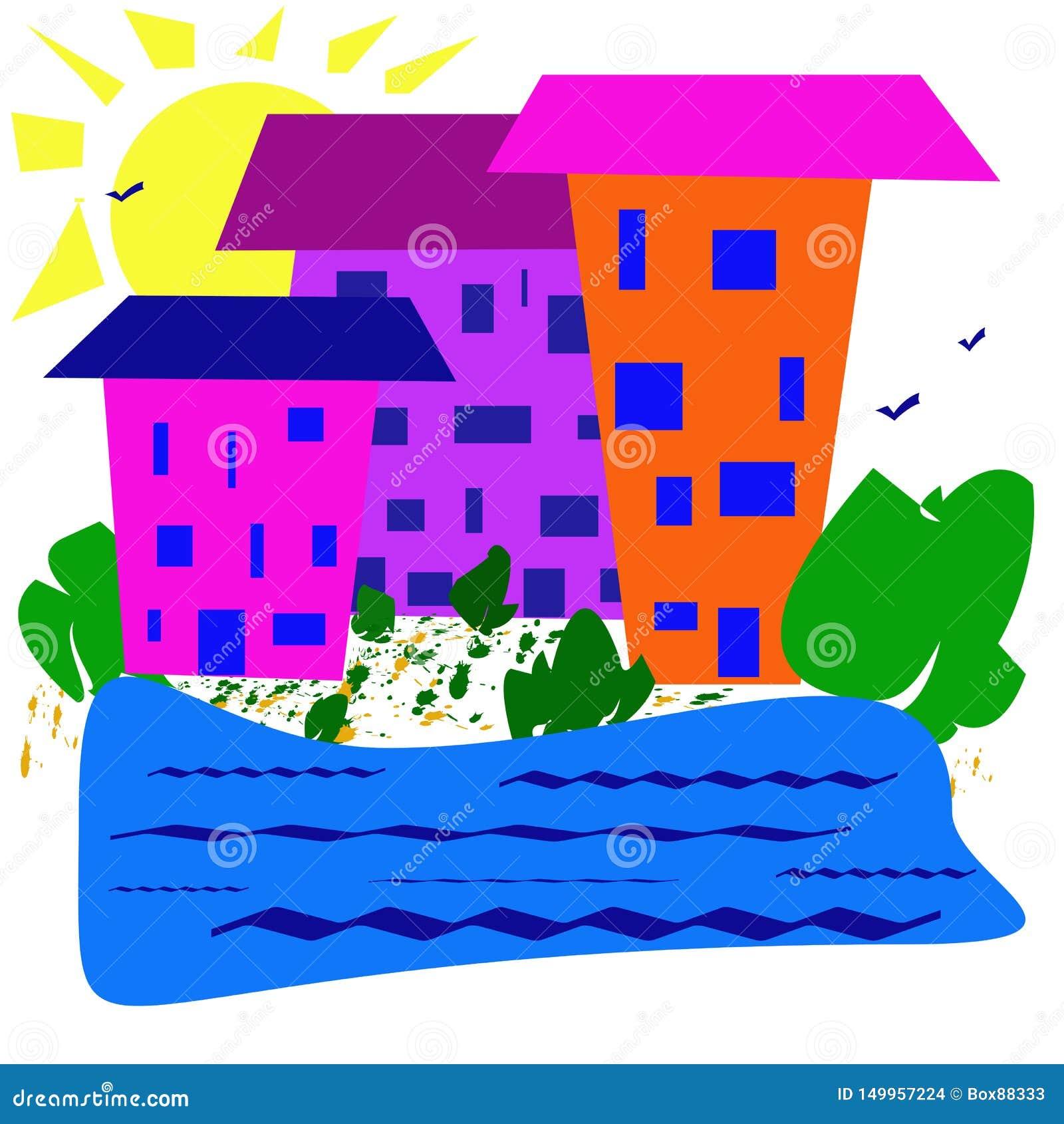 Abstrakt enkel bild Solig dag hus nära en behållare