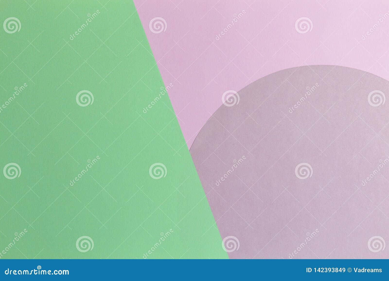 Abstrakt färgpappersbakgrund Pastellfärgad rosa och ljust - för rundacirkel för grön färg sammansättning för geometri för form To