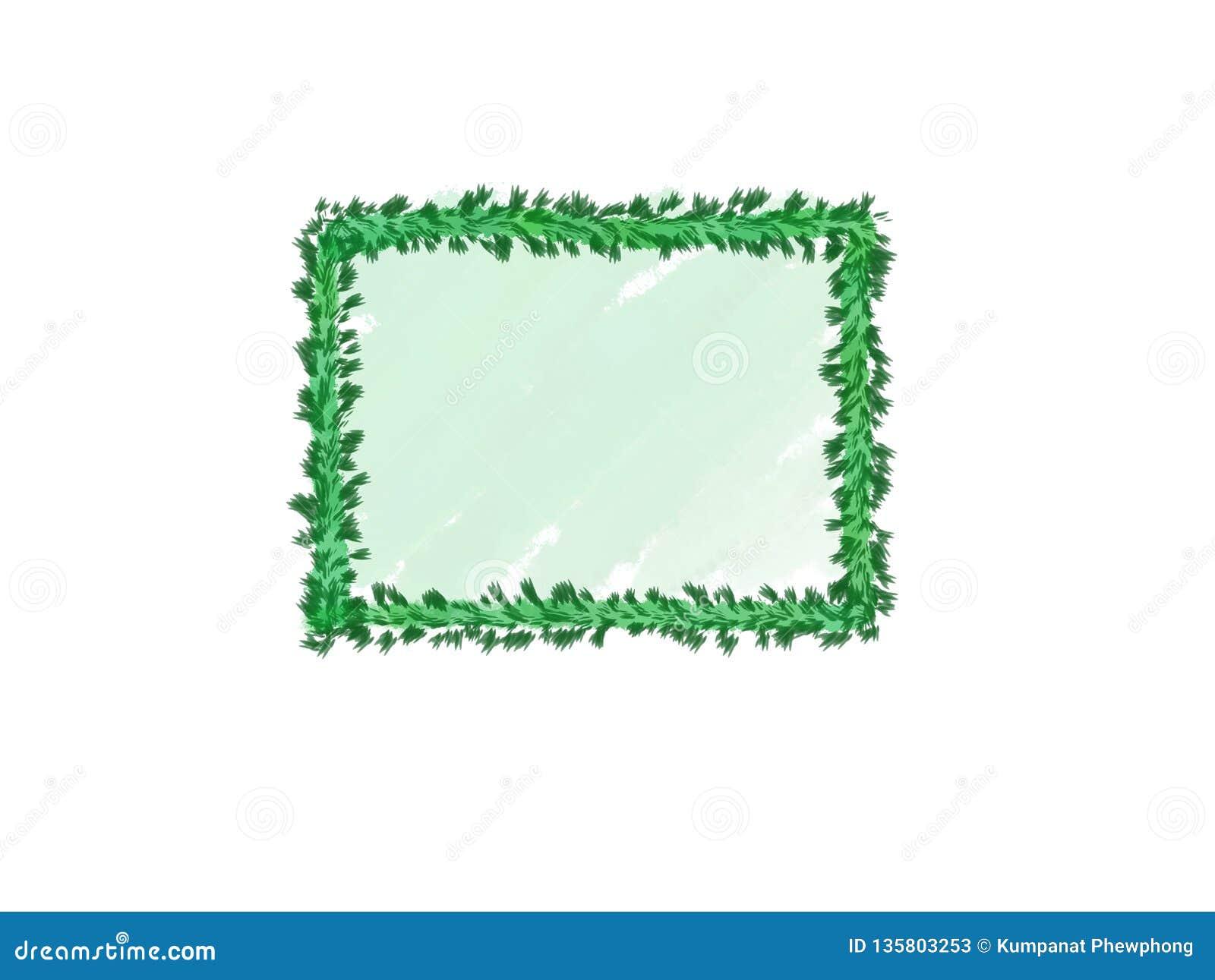 Abstrakt färgpulvervattenfärg, grön sidaram på vit bakgrund med kopieringsutrymme för baner eller logo