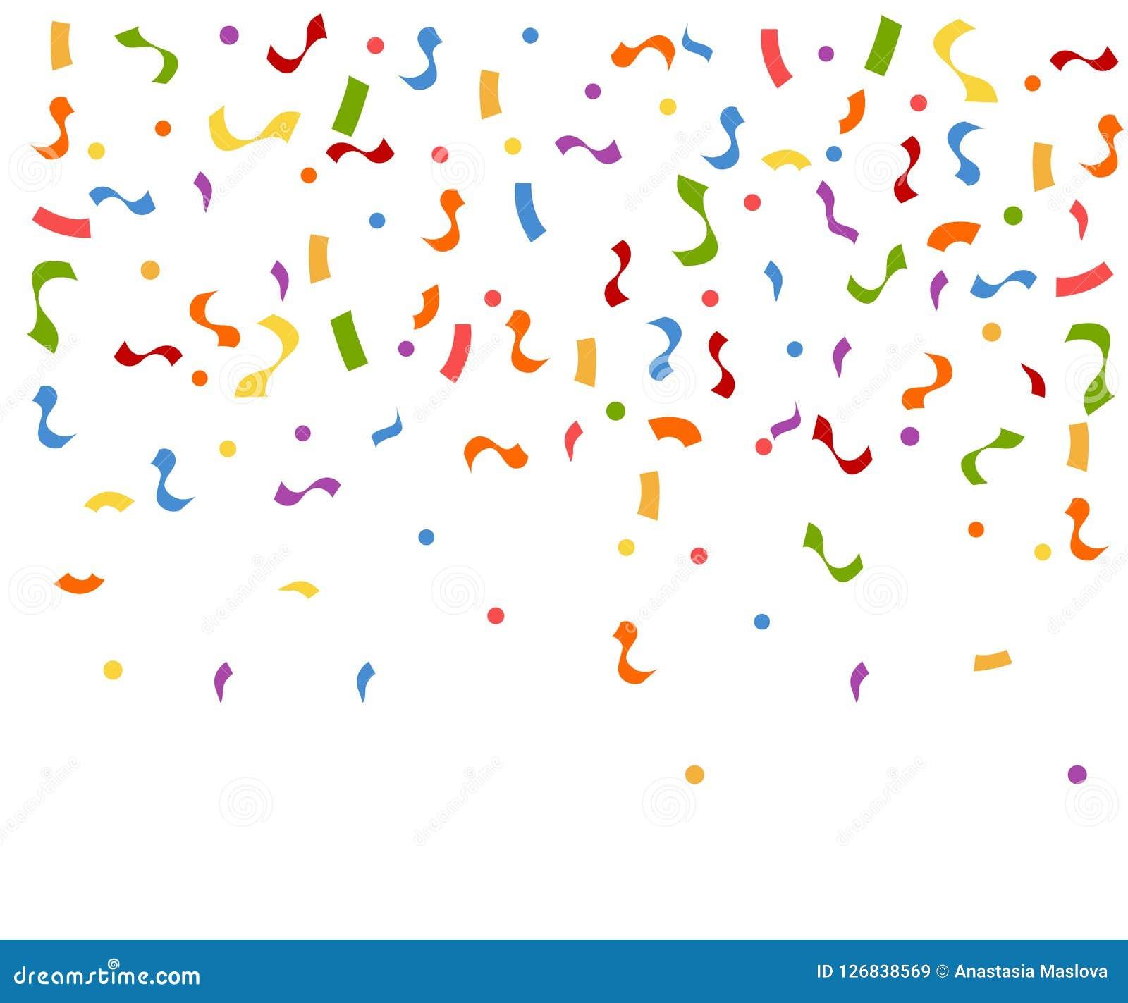 Abstrakt färgrik explosion av konfettier Konfettier som ner faller Plan vektorillustration på vit bakgrund