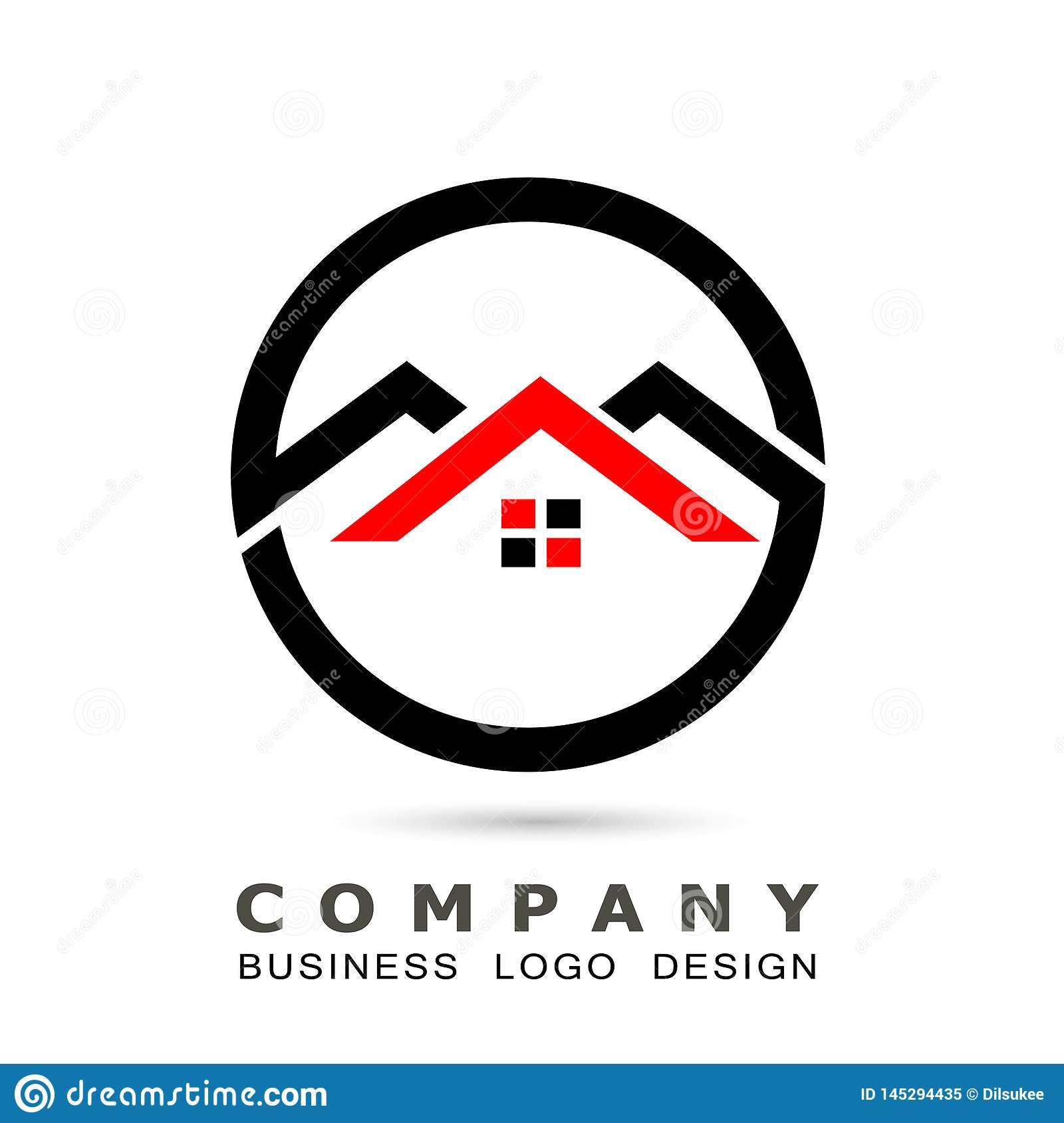 Abstrakt fastighethustak och hem- vektor f?r design f?r symbol f?r logovektorbest?ndsdel p? vit bakgrund Aff?r samling