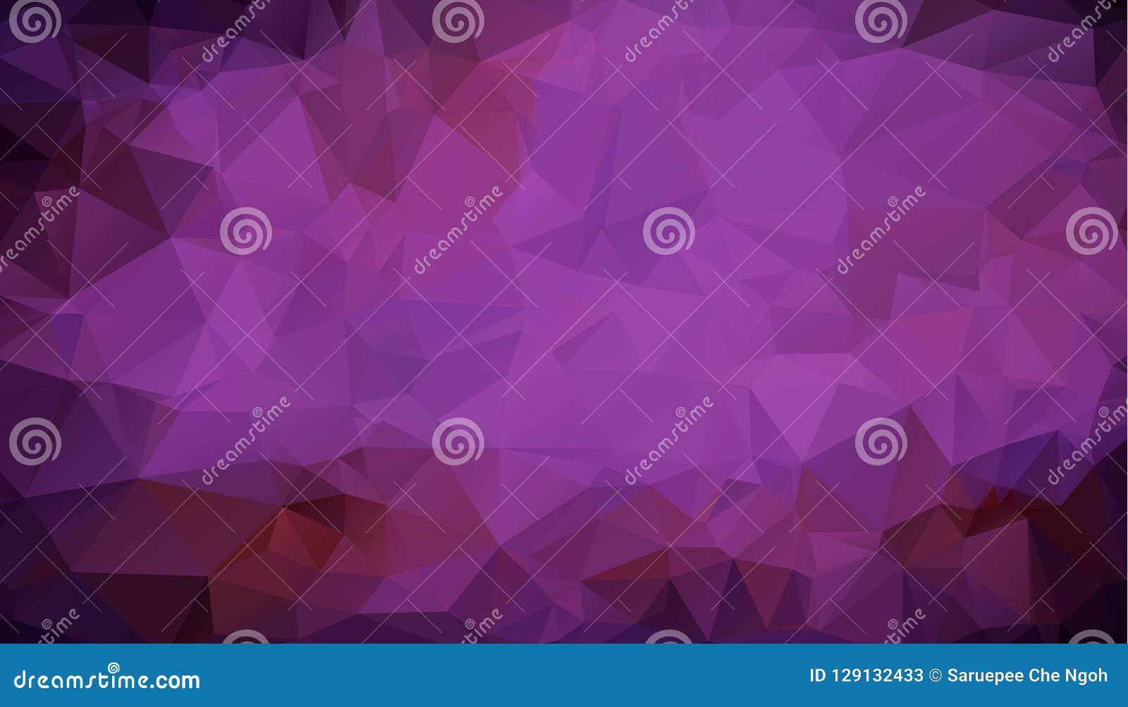 Abstrakt flerfärgad mörk purpurfärgad geometrisk rufsad till triangulär låg poly bakgrund för diagram för stillutningillustration