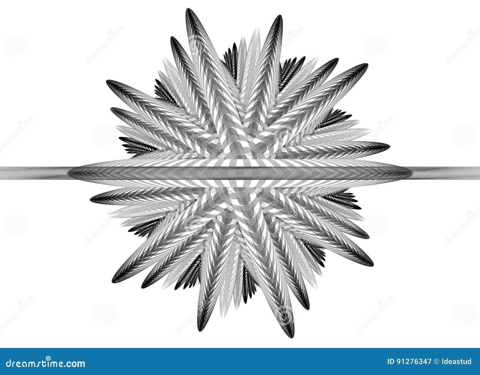 Abstrakt fractalillustration för monokrom
