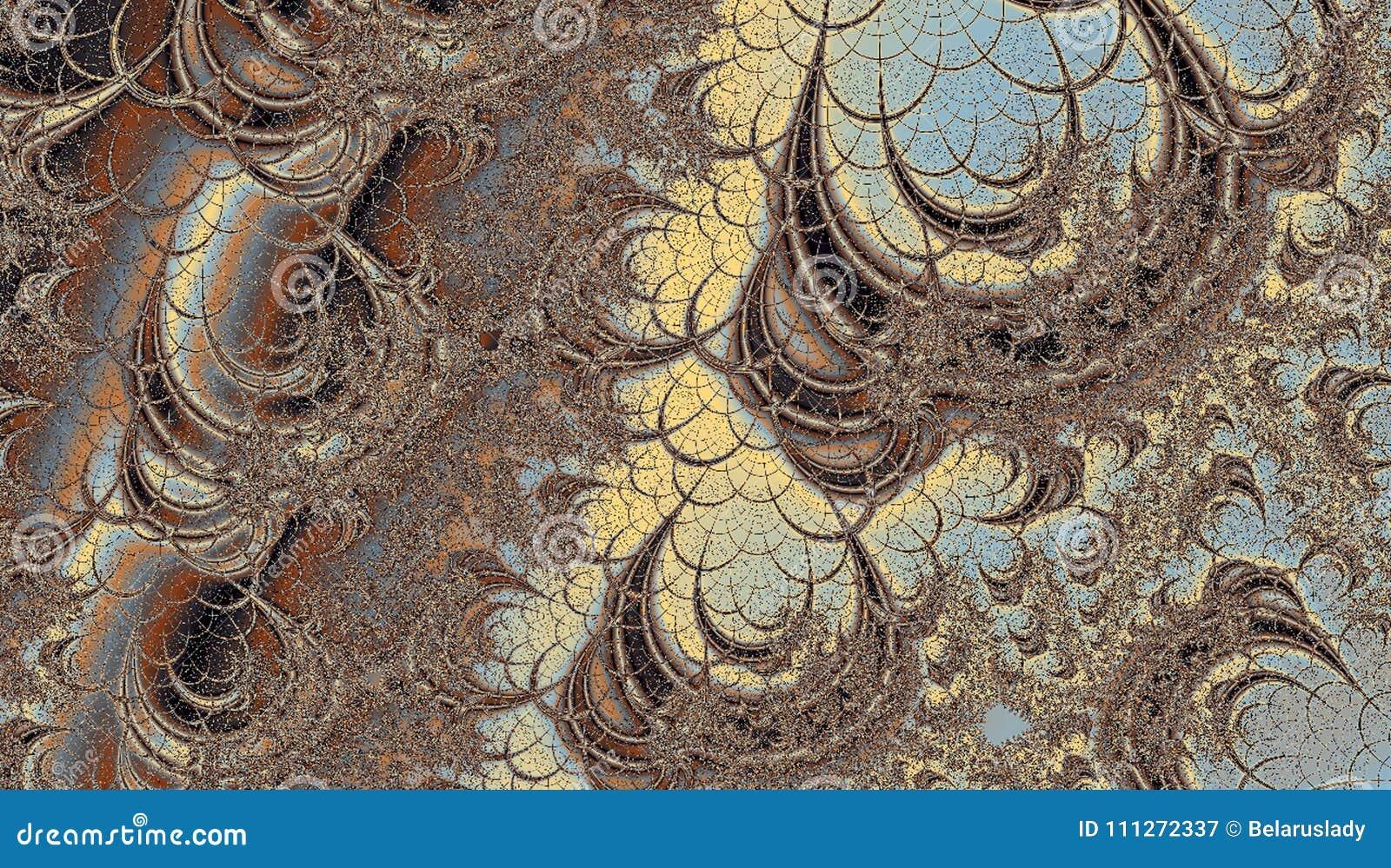 Abstrakt fractallabyrint i pastellblått, brunt och beigafärger