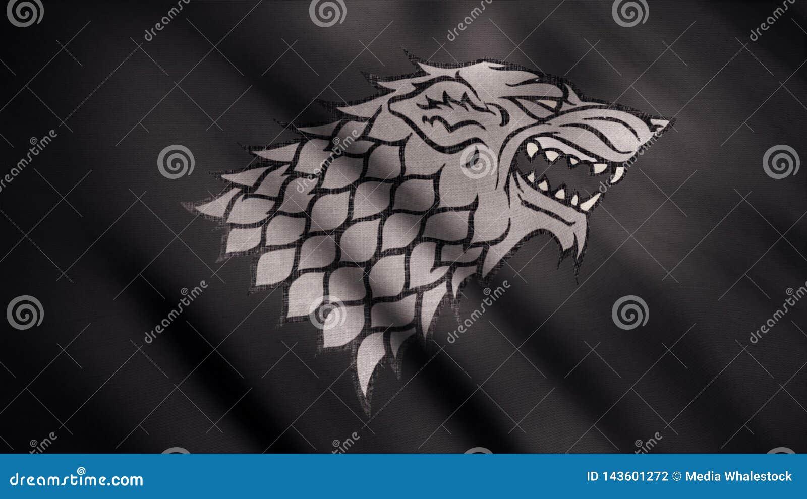 Abstrakt framkallande tyg av flaggan djur Bild av den gråa vargen med den öppna munnen i ursinne mot framkallning av den svarta f