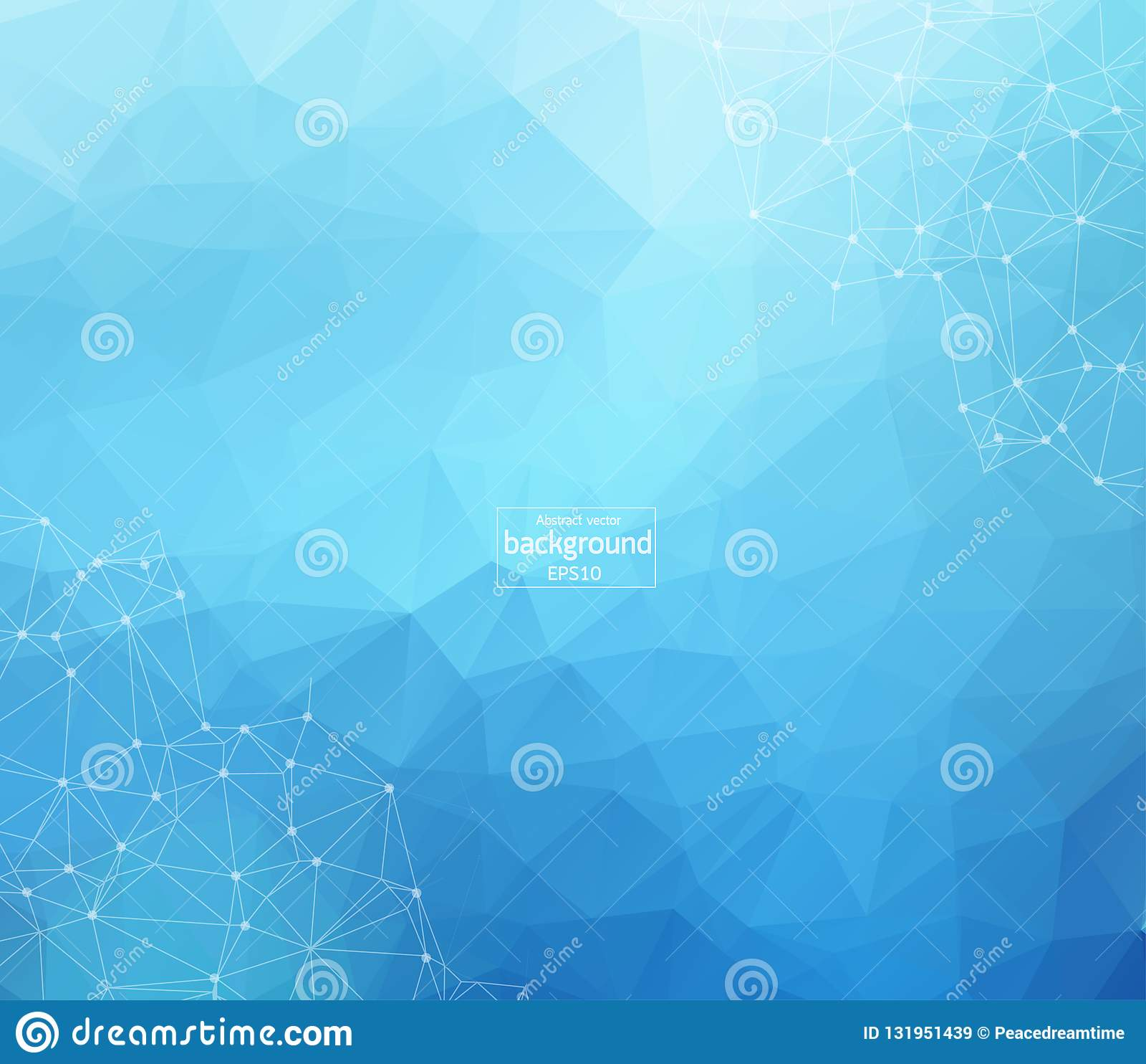 Abstrakt futuristisk - molekylteknologi med den linjära och polygonal modellen formar på mörker - blå bakgrund illustrationvektor