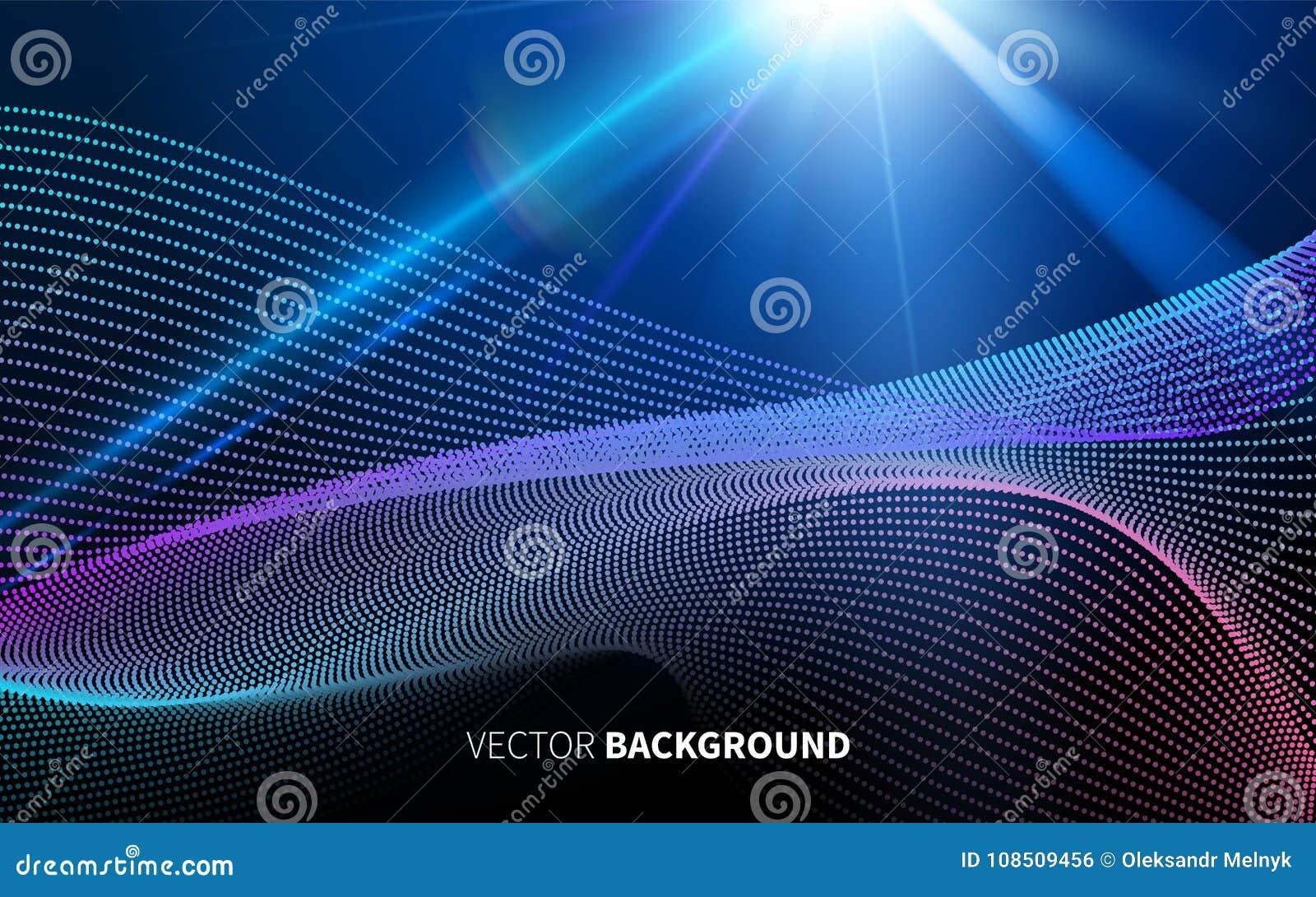 Abstrakt futuristisk teknologi med den linjära modellen formar ljus på mörker - blå bakgrund