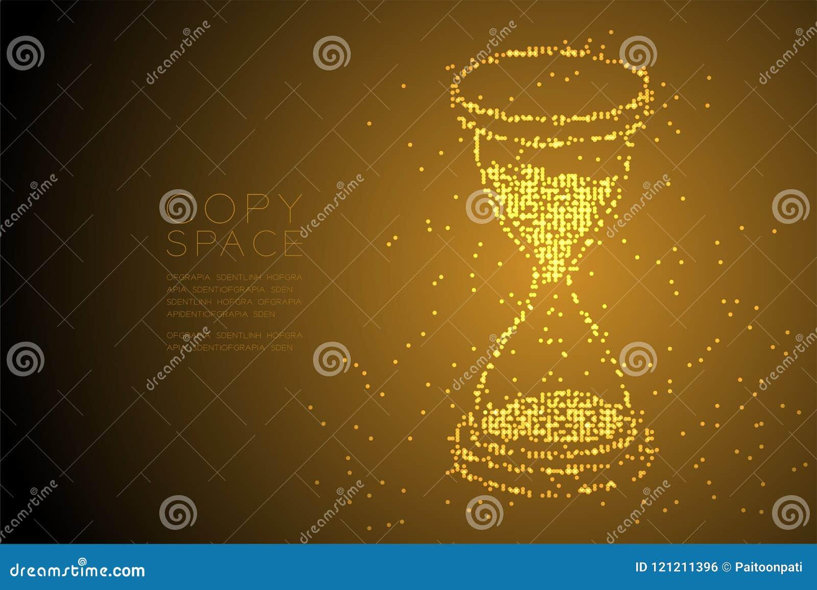 Abstrakt geometrisk form för timglas för modell 3d för PIXEL för Bokeh cirkelprick isometrisk, digital illustr för färg för påmin