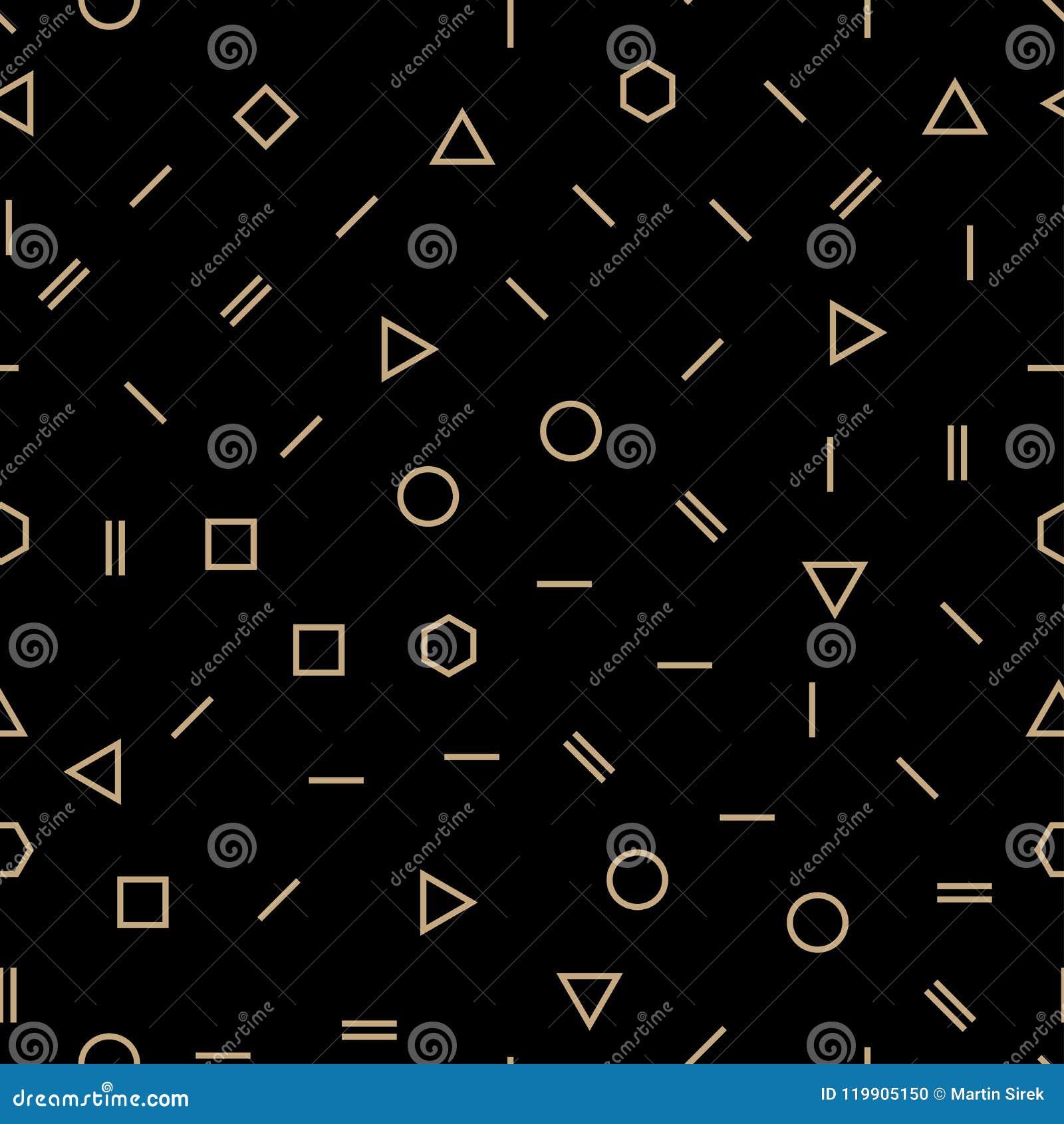 Abstrakt geometrisk modell för design för guld- och svartmemphis mode