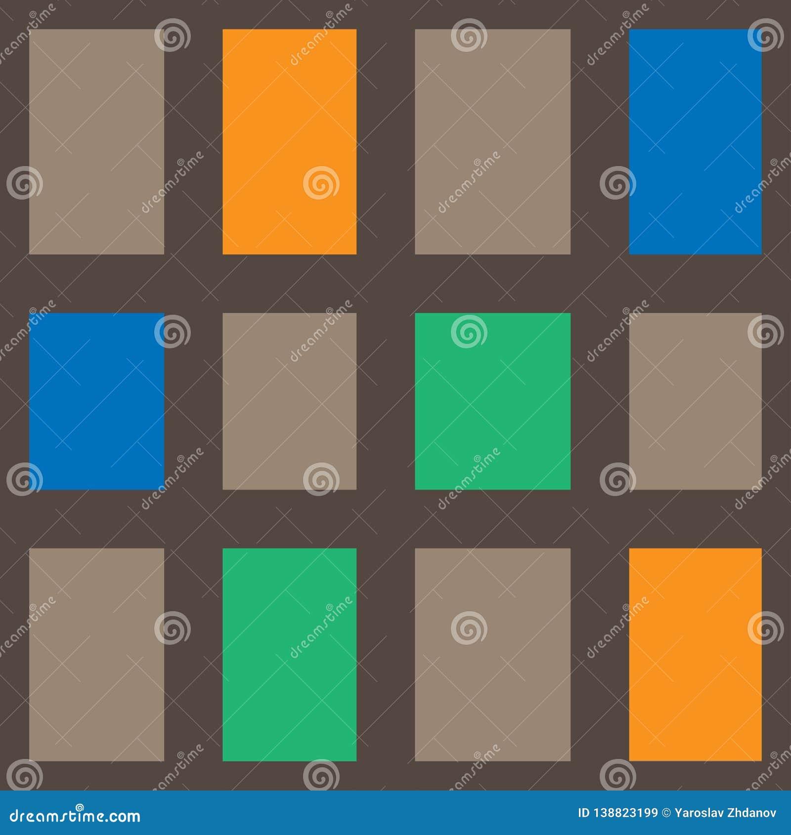 Abstrakt geometrisk rektangulär modell med den bruna, orange, gröna och orange färgvektorn