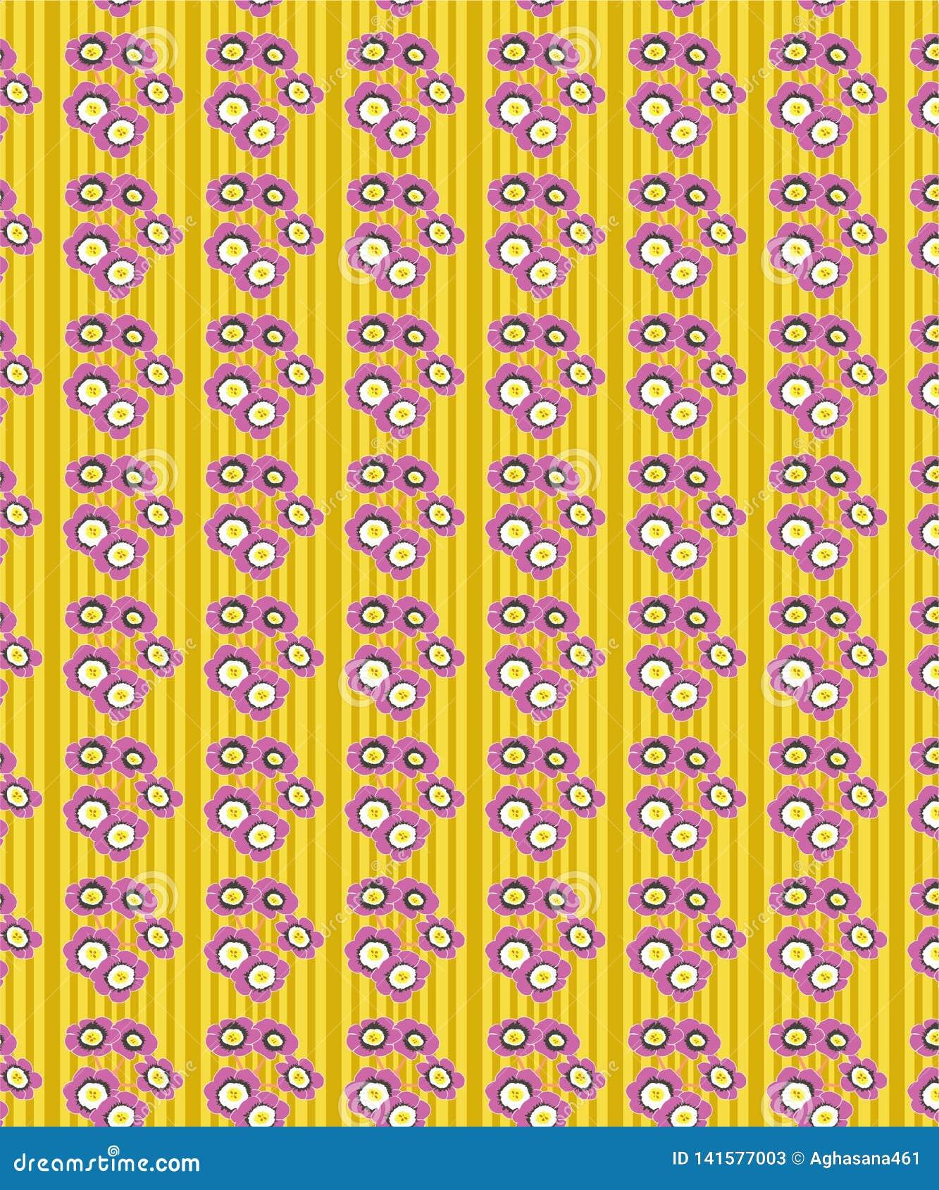 Abstrakt gul blom- sömlös modell