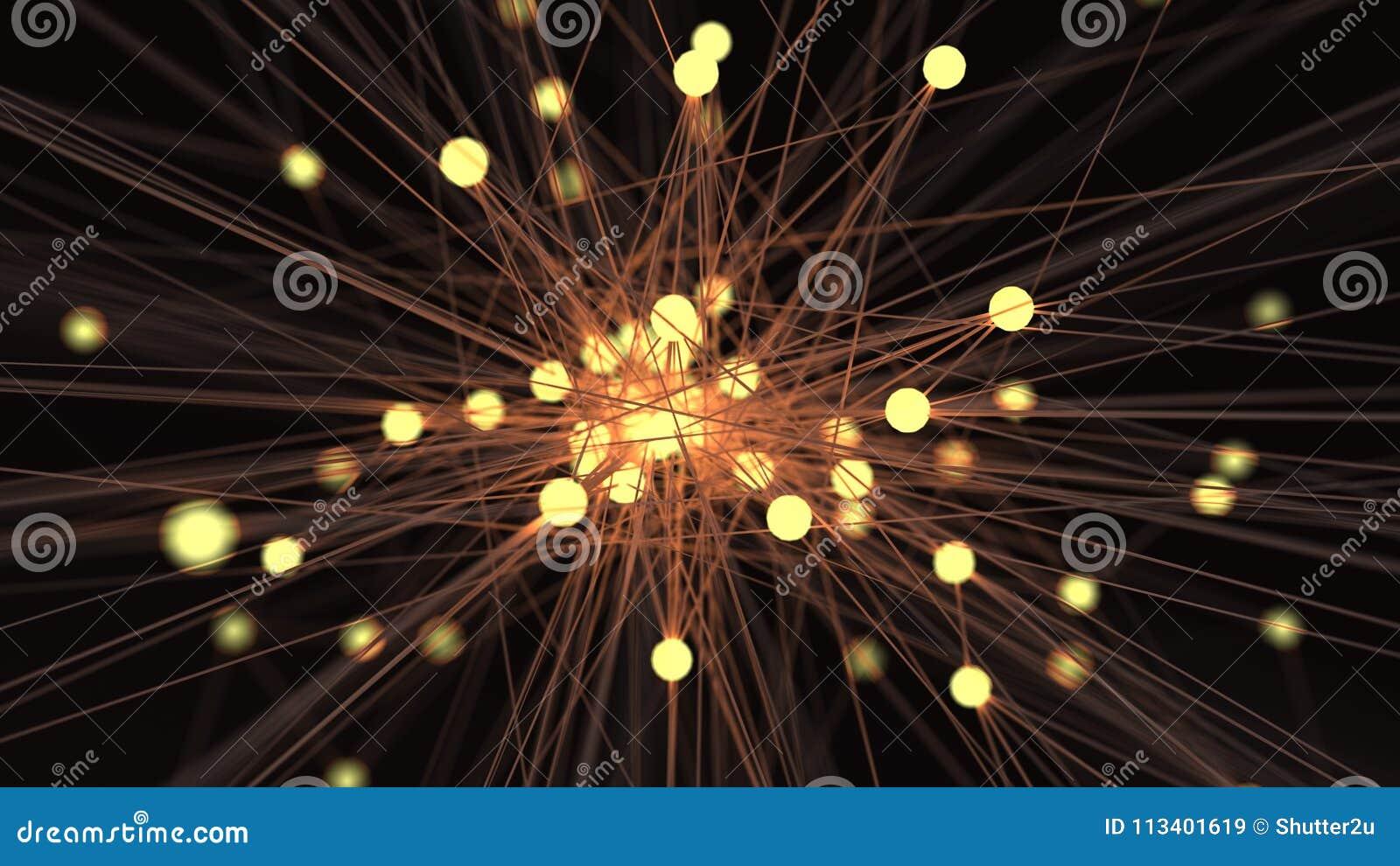 Abstrakt gul för teknologinätverk för ljus kula futuristisk knutpunkt C